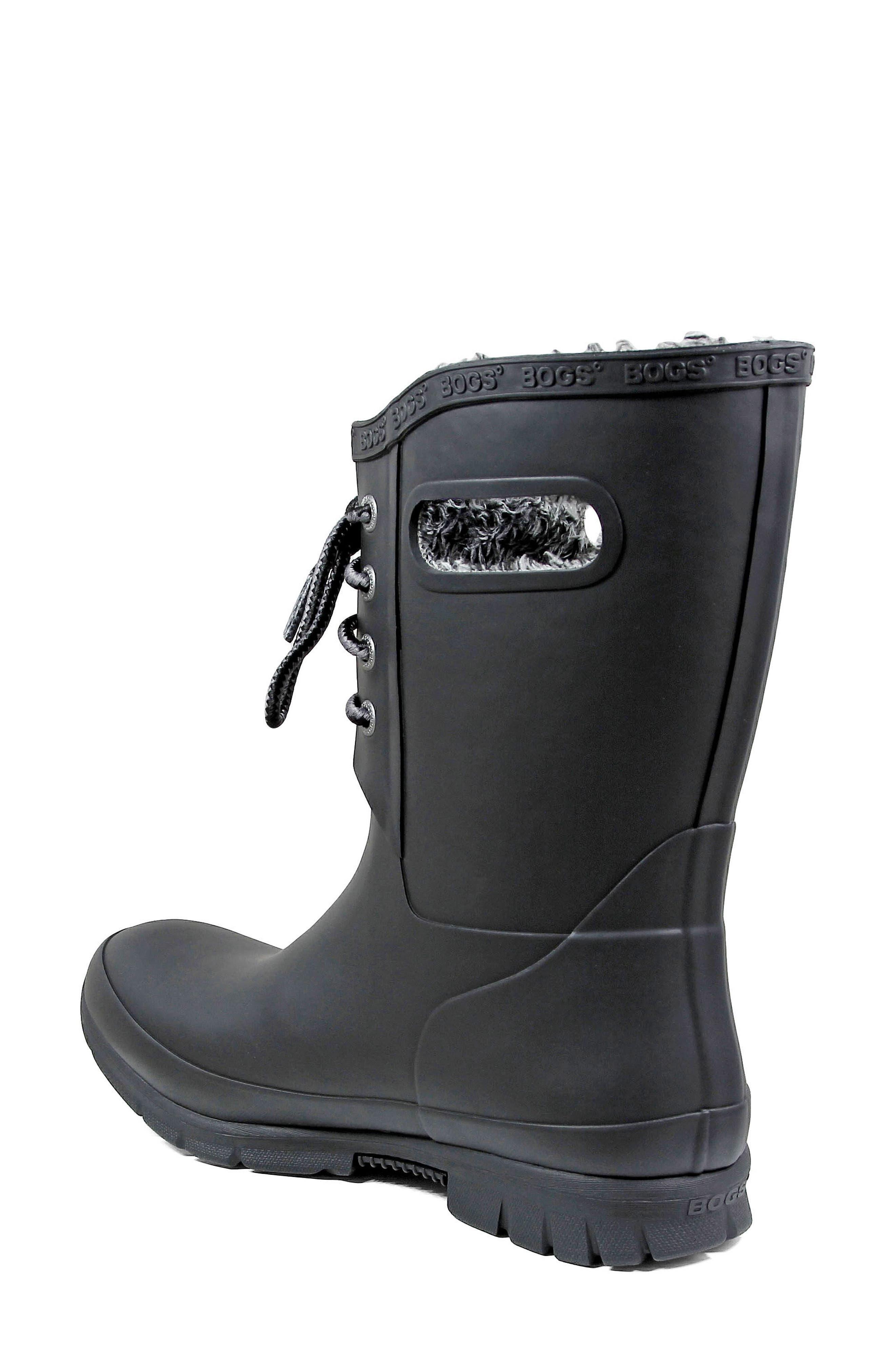 Amanda Plush Waterproof Rain Boot,                             Alternate thumbnail 2, color,                             BLACK