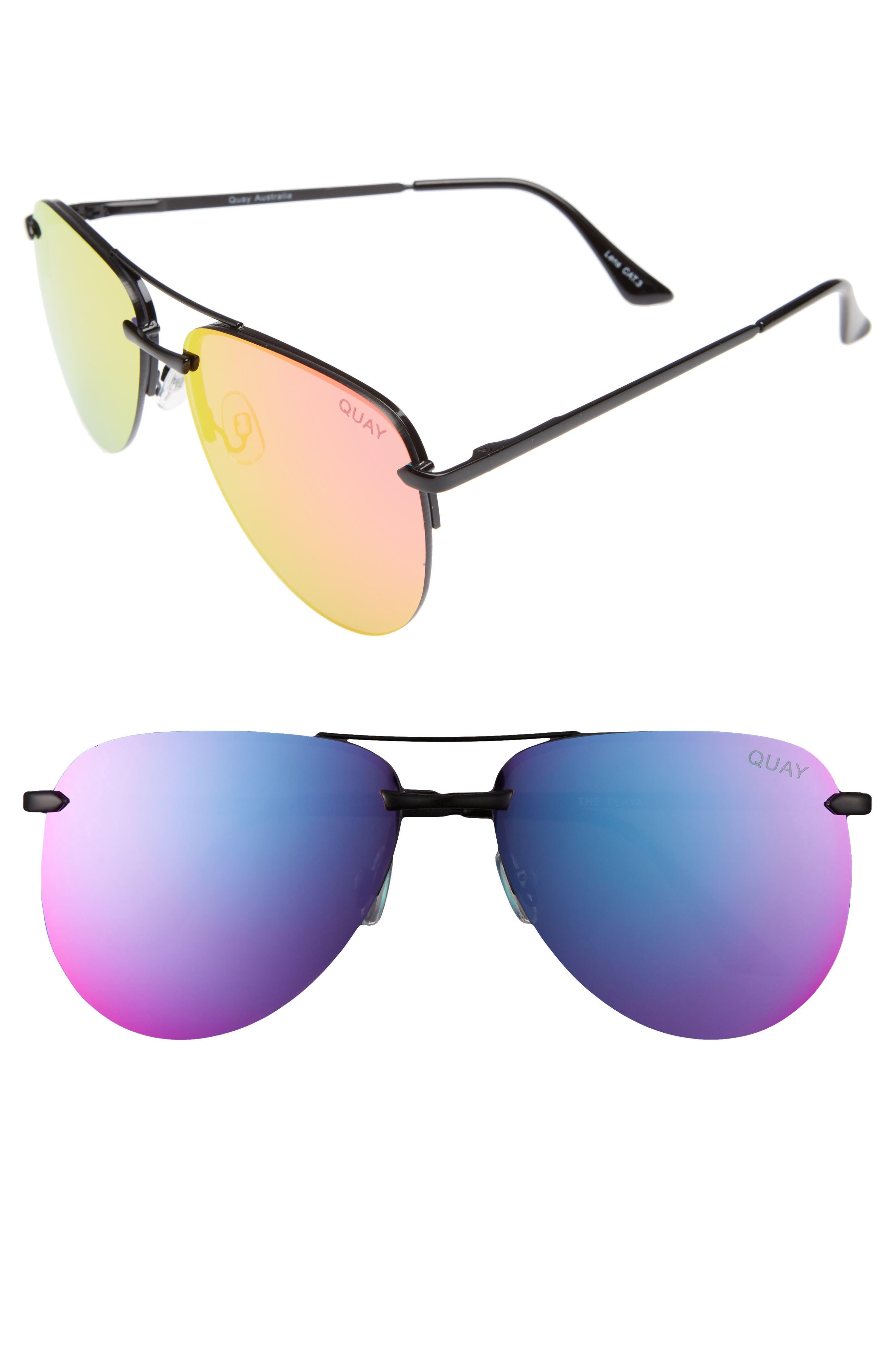 Quay Australia The Playa Aviator Sunglasses - Black/ Pink