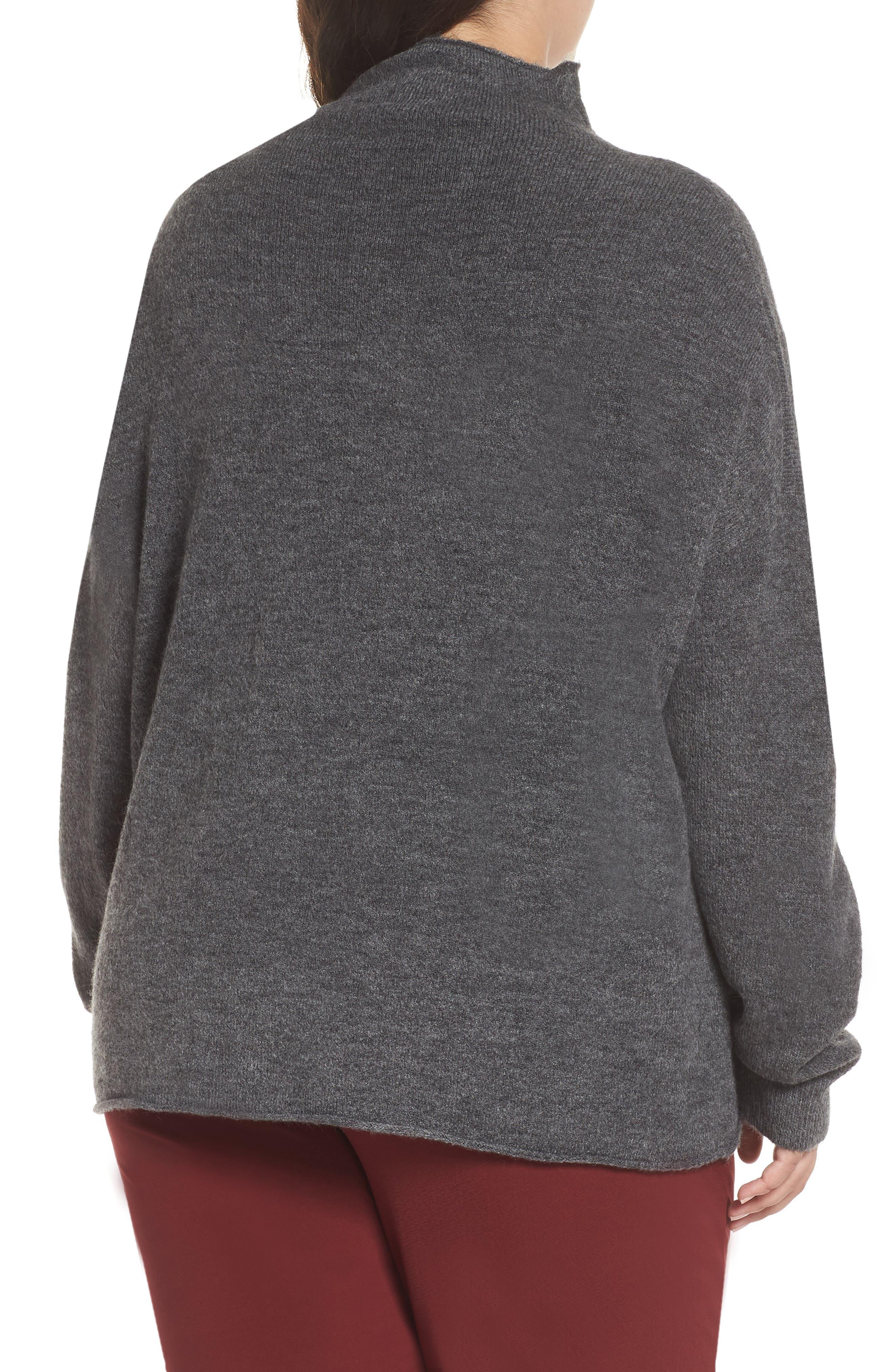 Cozy Mock Neck Sweater,                             Alternate thumbnail 3, color,                             GREY MEDIUM CHARCOAL HEATHER