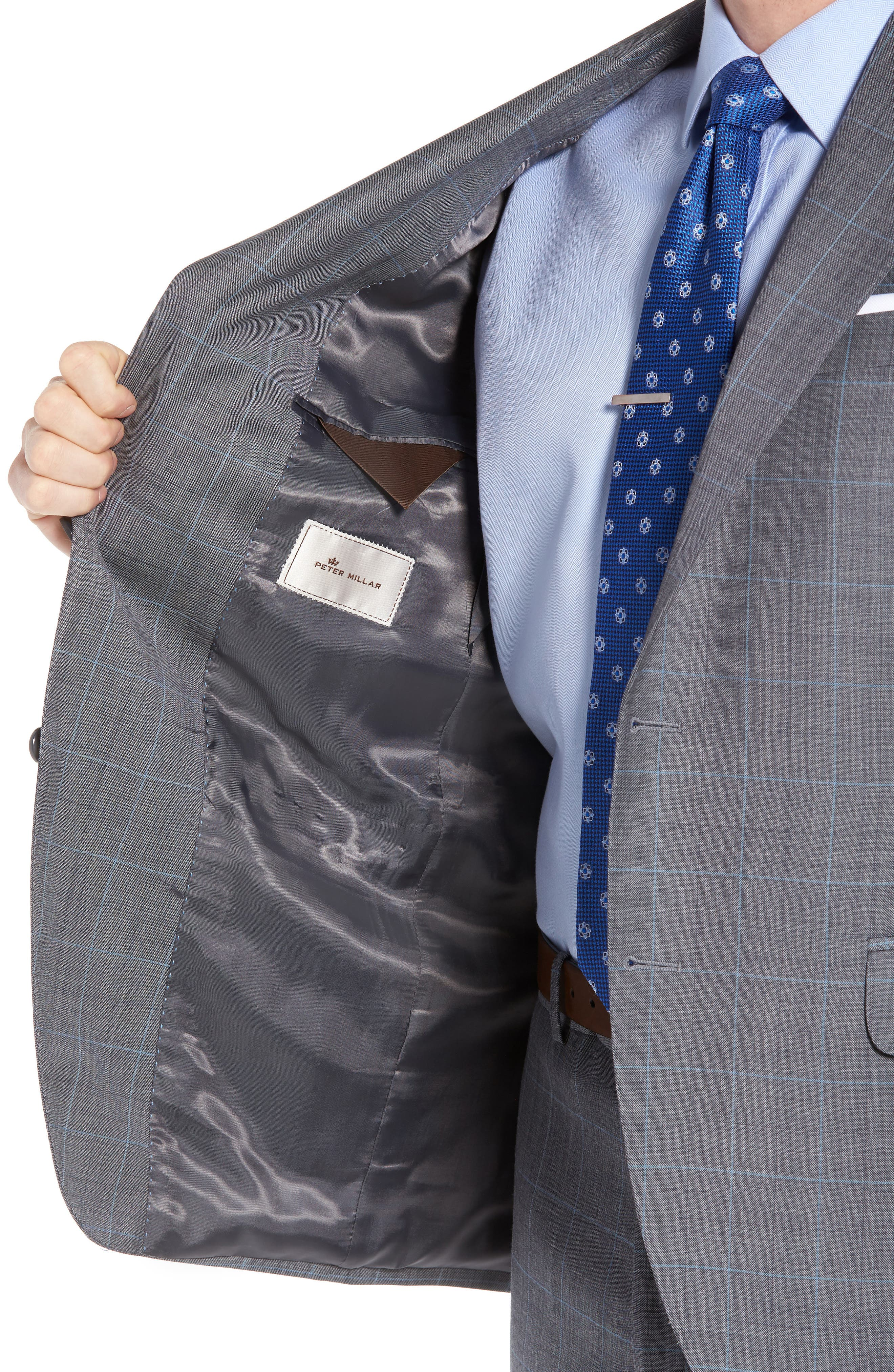 Classic Fit Windowpane Wool Suit,                             Alternate thumbnail 4, color,                             050
