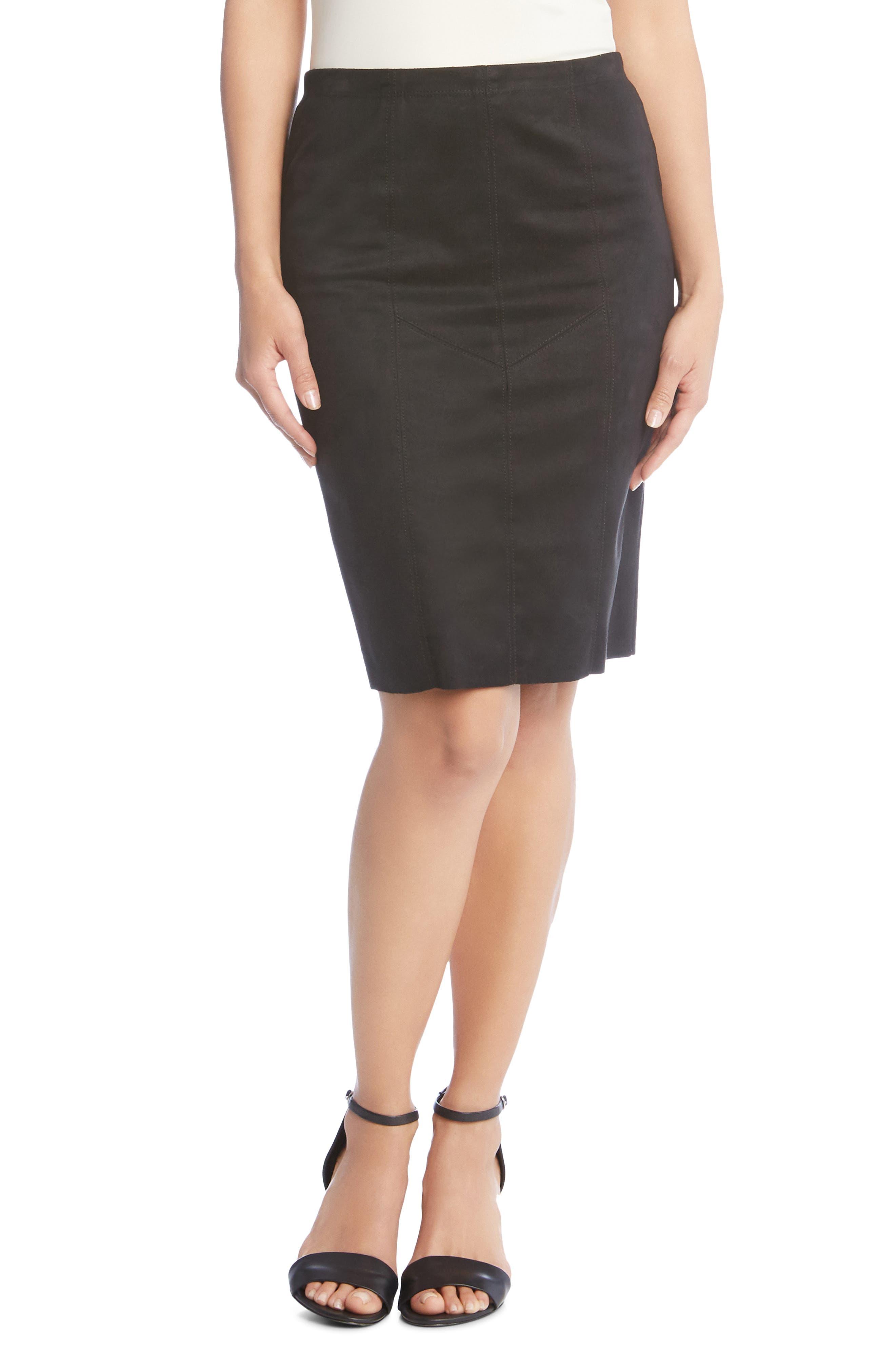 Karen Kane Faux Suede Skirt, Black