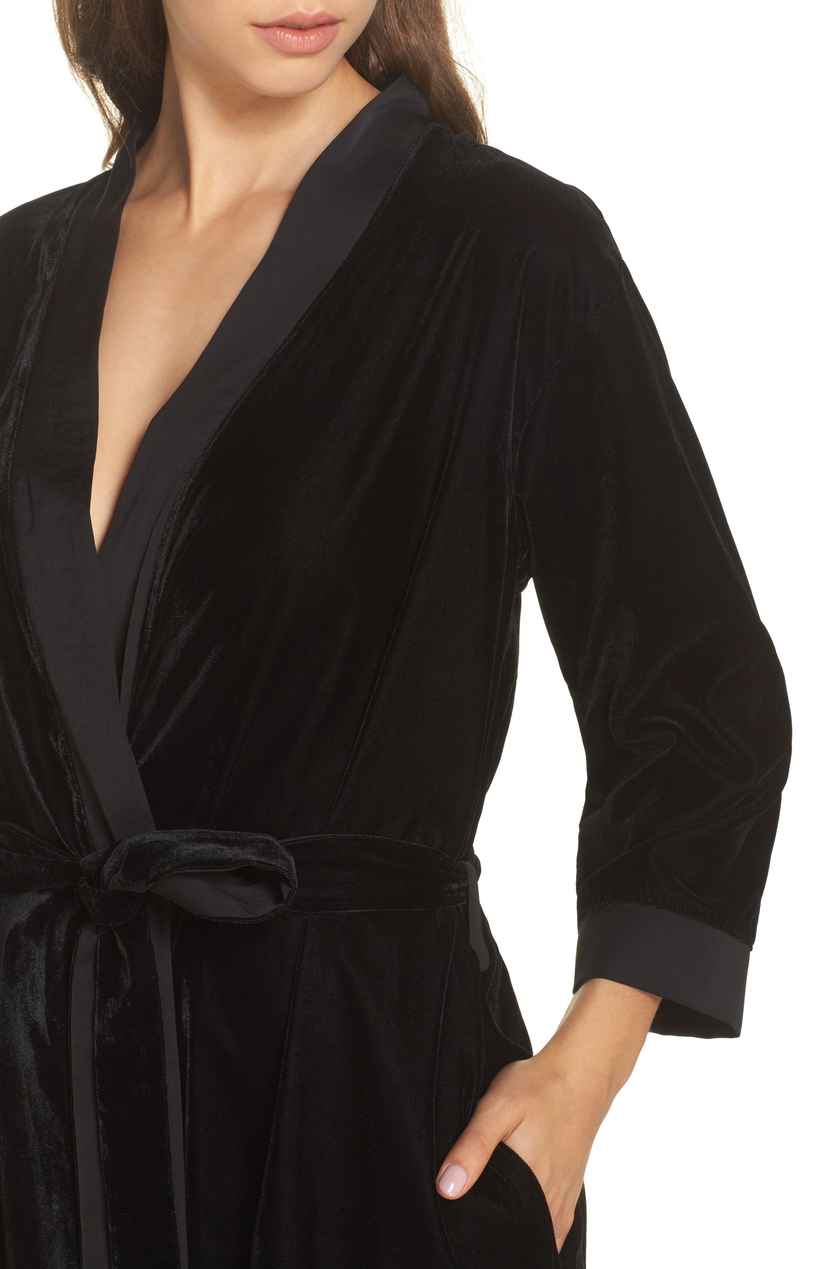 Velvet Short Robe,                             Alternate thumbnail 4, color,                             001