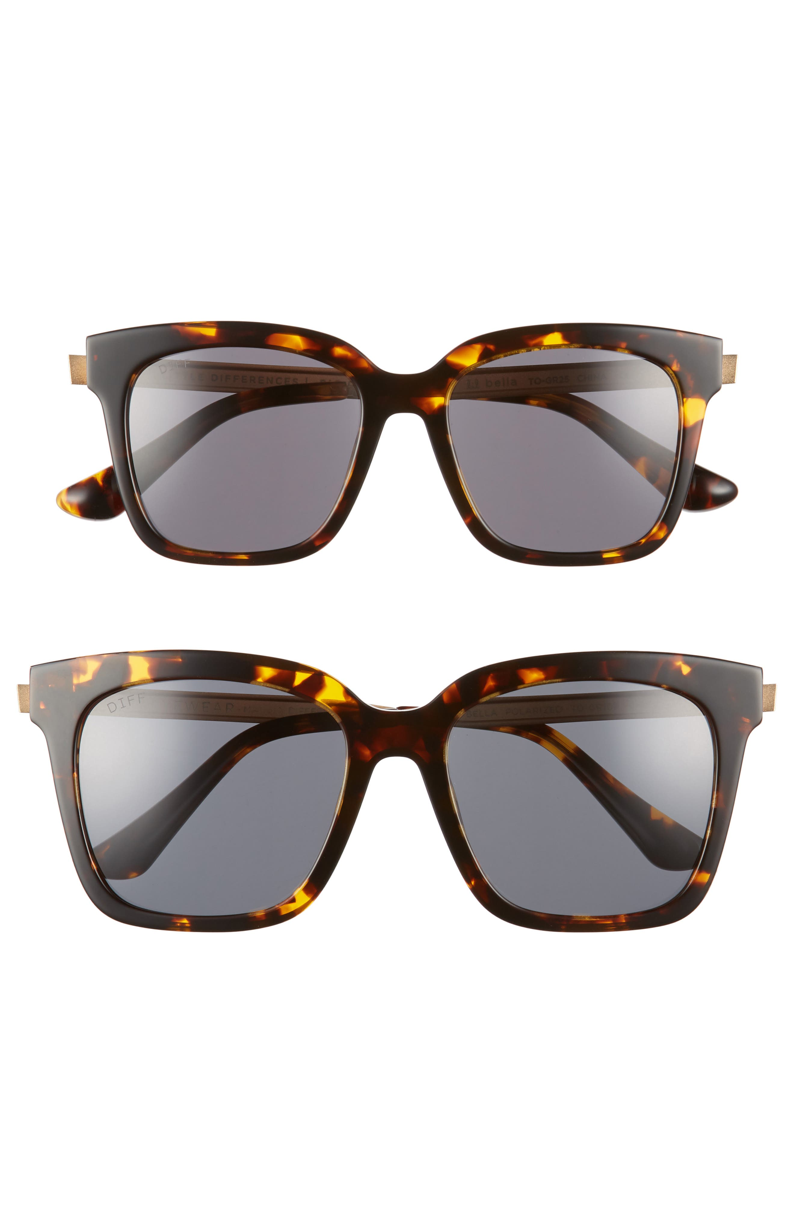 Mommy & Me Bella 2-Pack Square Sunglasses,                         Main,                         color, TORTOISE/ GREY