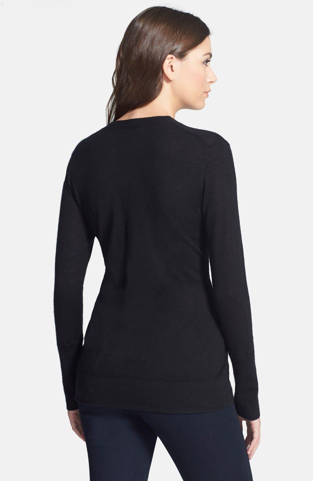 Deep V-Neck Cashmere Sweater,                             Alternate thumbnail 2, color,                             001