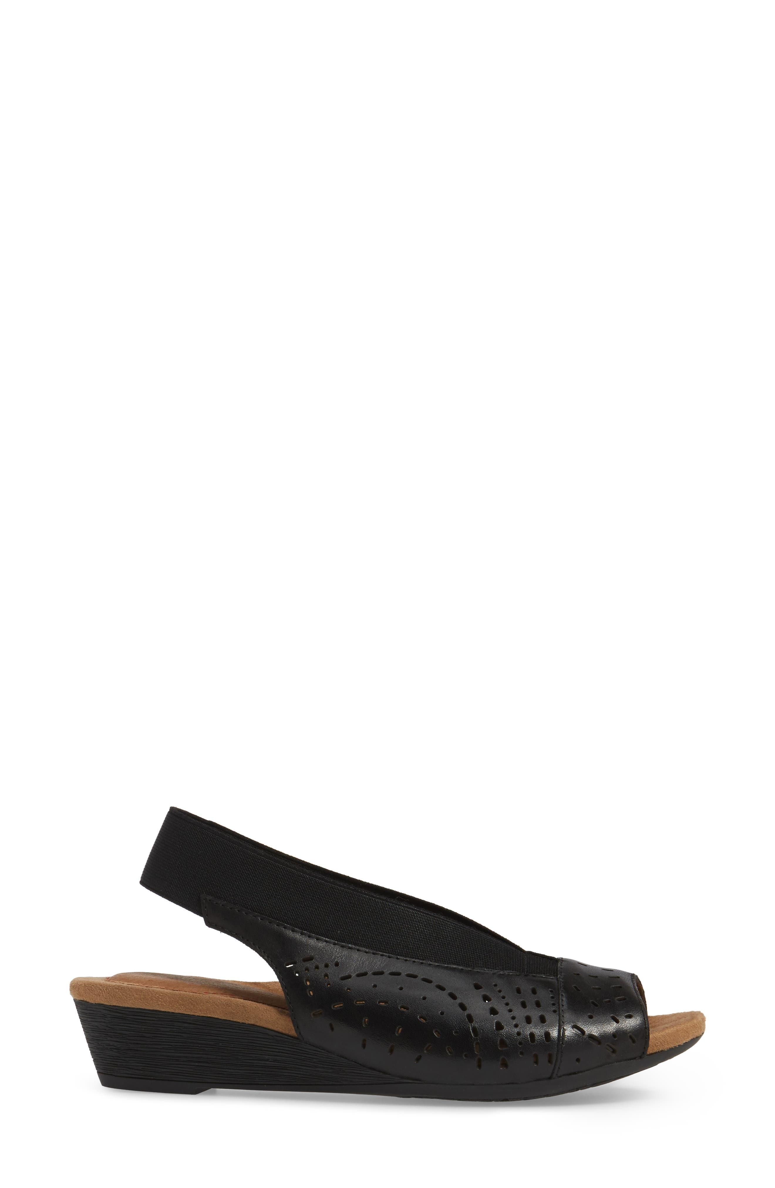 Judson Slingback Wedge Sandal,                             Alternate thumbnail 3, color,                             BLACK LEATHER