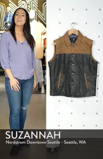 Colorblock Quilted Leather Vest, sales video thumbnail