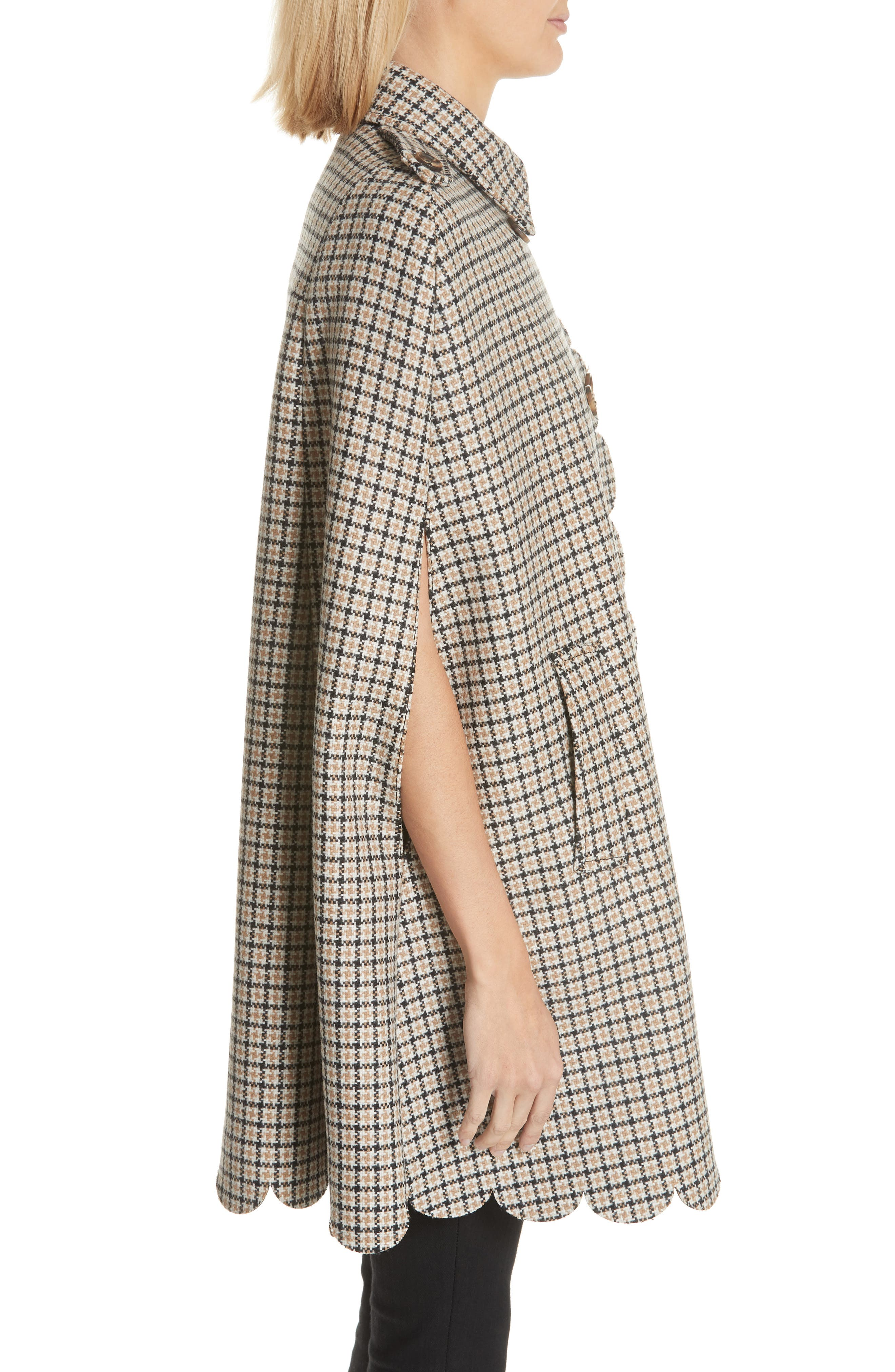 Plaid Wool Blend Cape,                             Alternate thumbnail 3, color,                             250