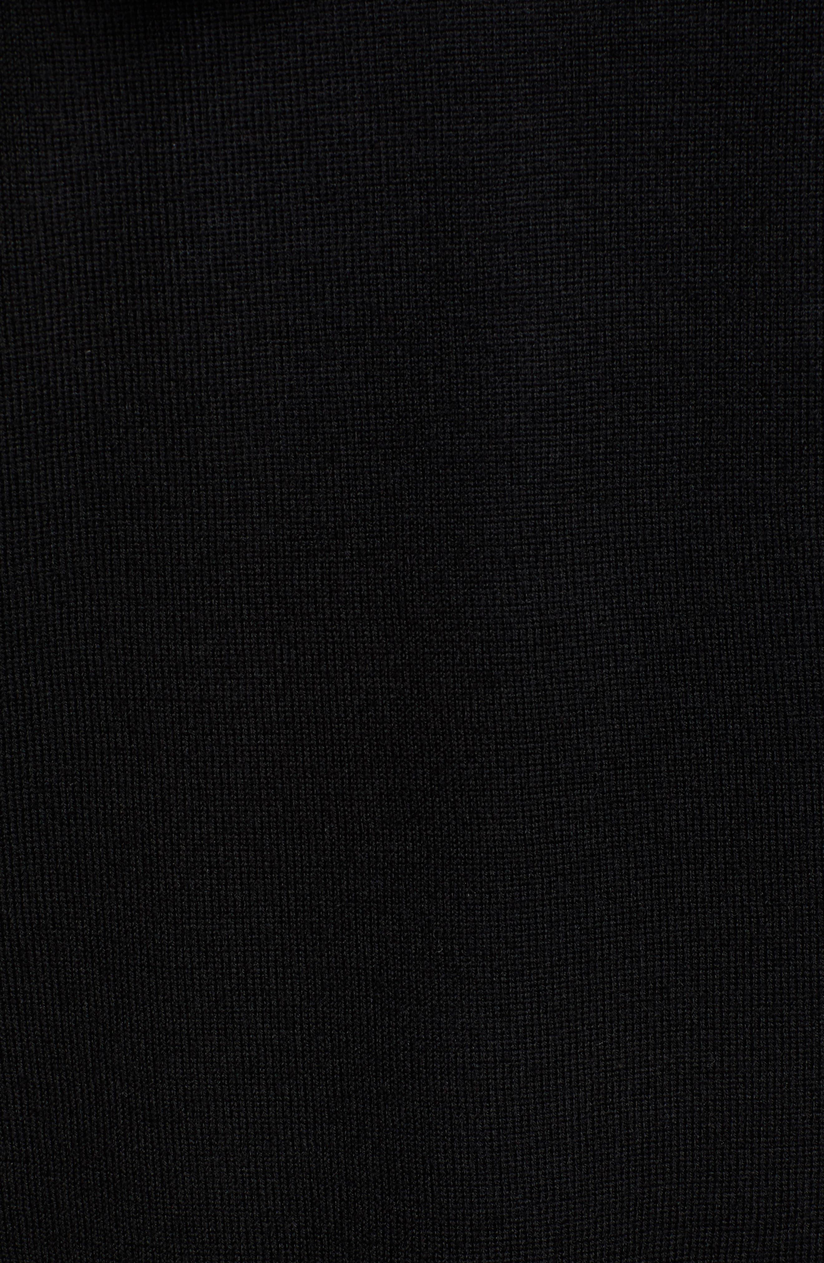 Full Zip Hoodie Wool Sweater,                             Alternate thumbnail 5, color,                             JET BLACK