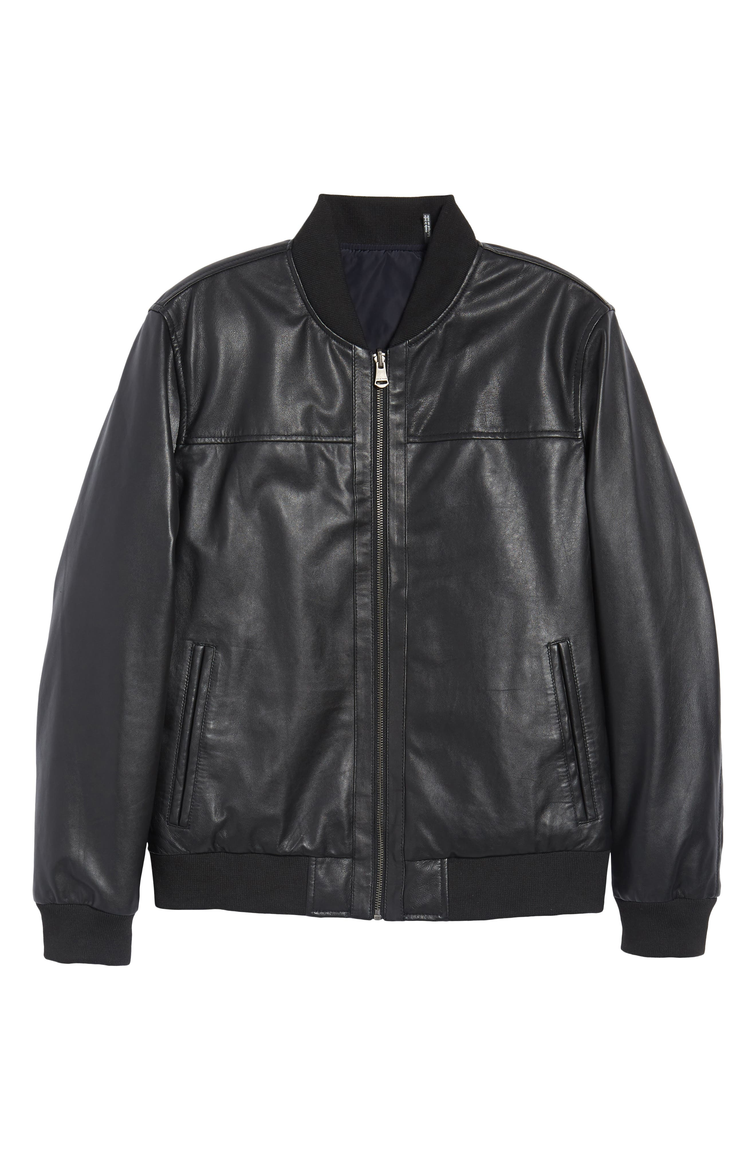 Reversible Leather Jacket,                             Alternate thumbnail 6, color,                             014