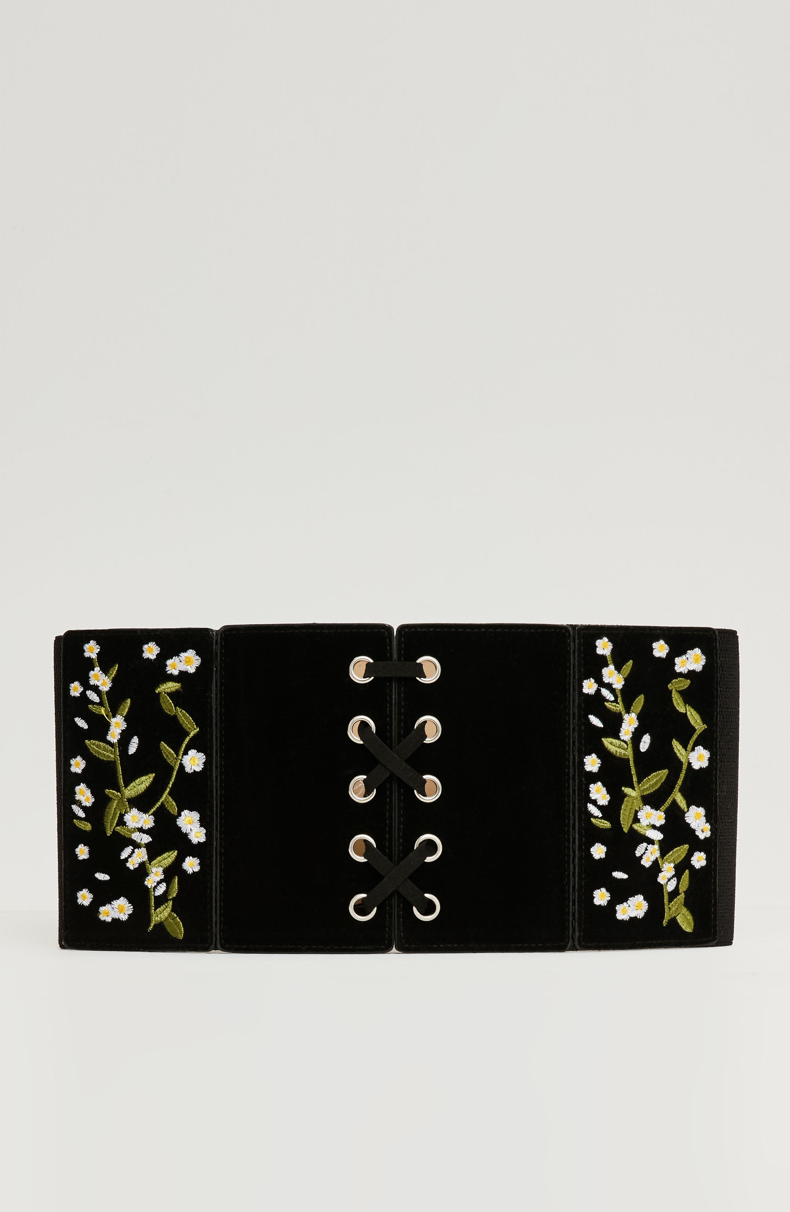 Floral Embroidered Faux Leather Lace-Up Belt,                             Alternate thumbnail 3, color,                             001