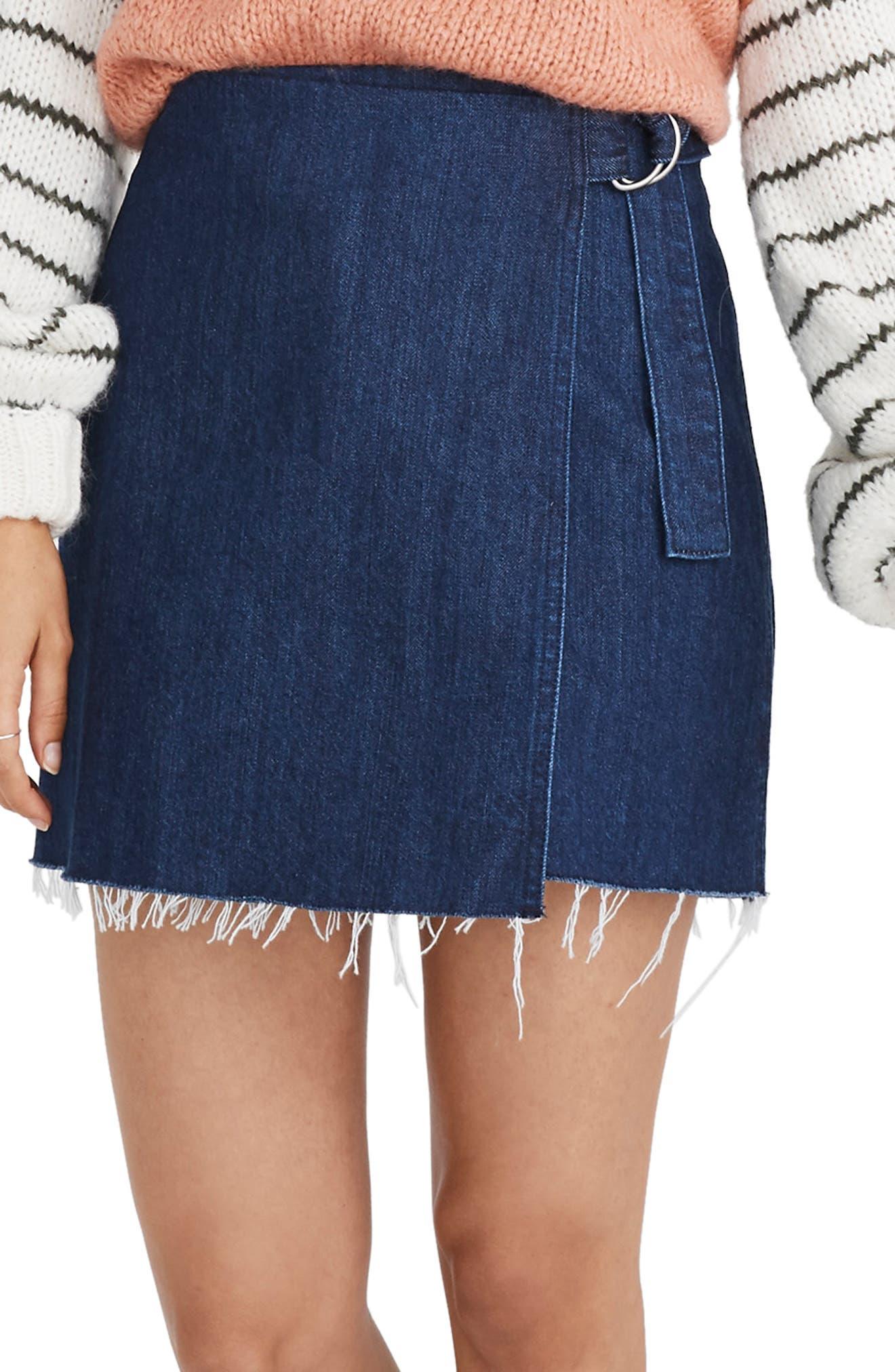 Madewell Denim Raw Hem Mini Wrap Skirt, Blue