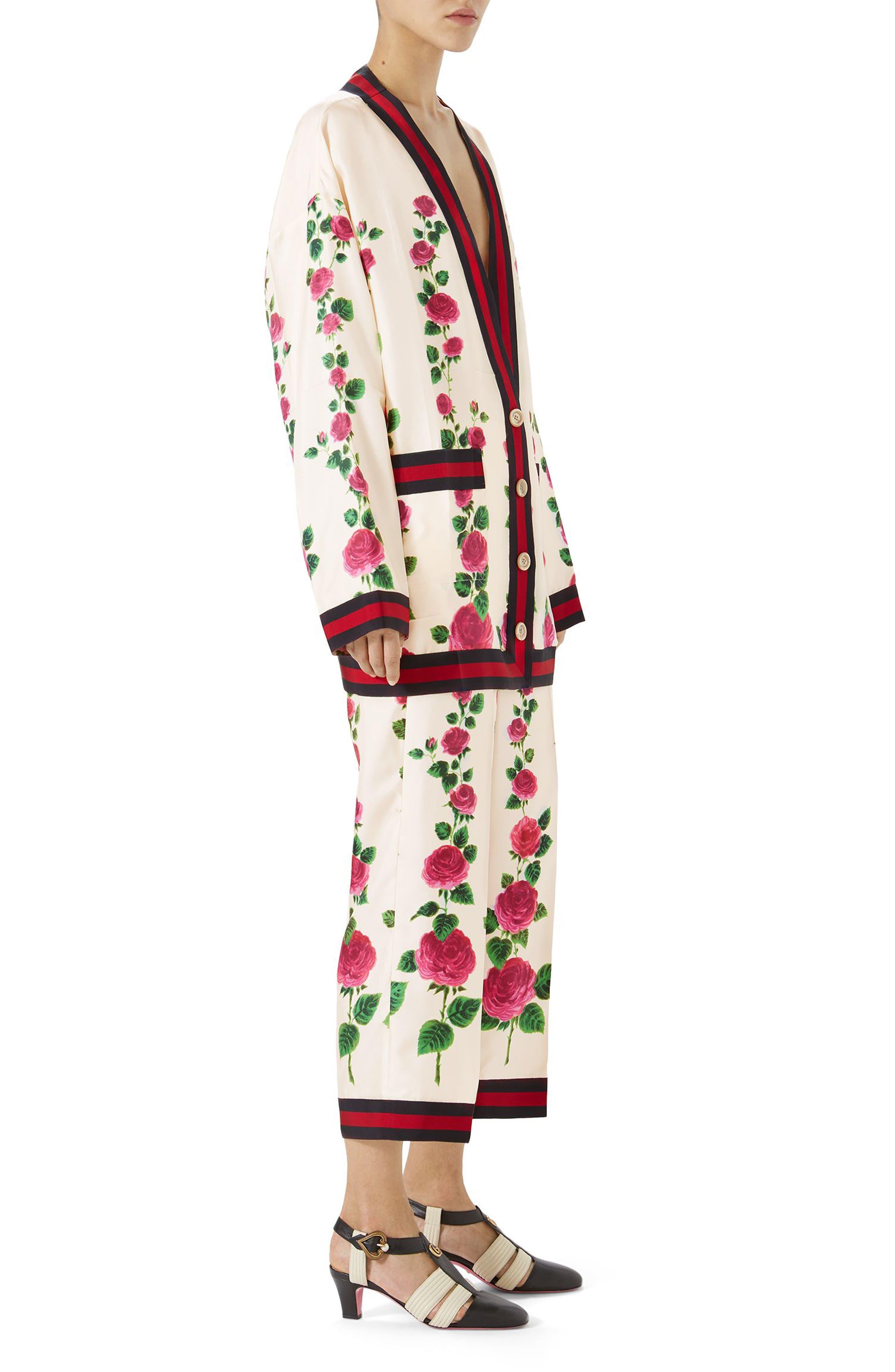 Rose Print Silk Pajama Pants,                             Alternate thumbnail 5, color,                             909