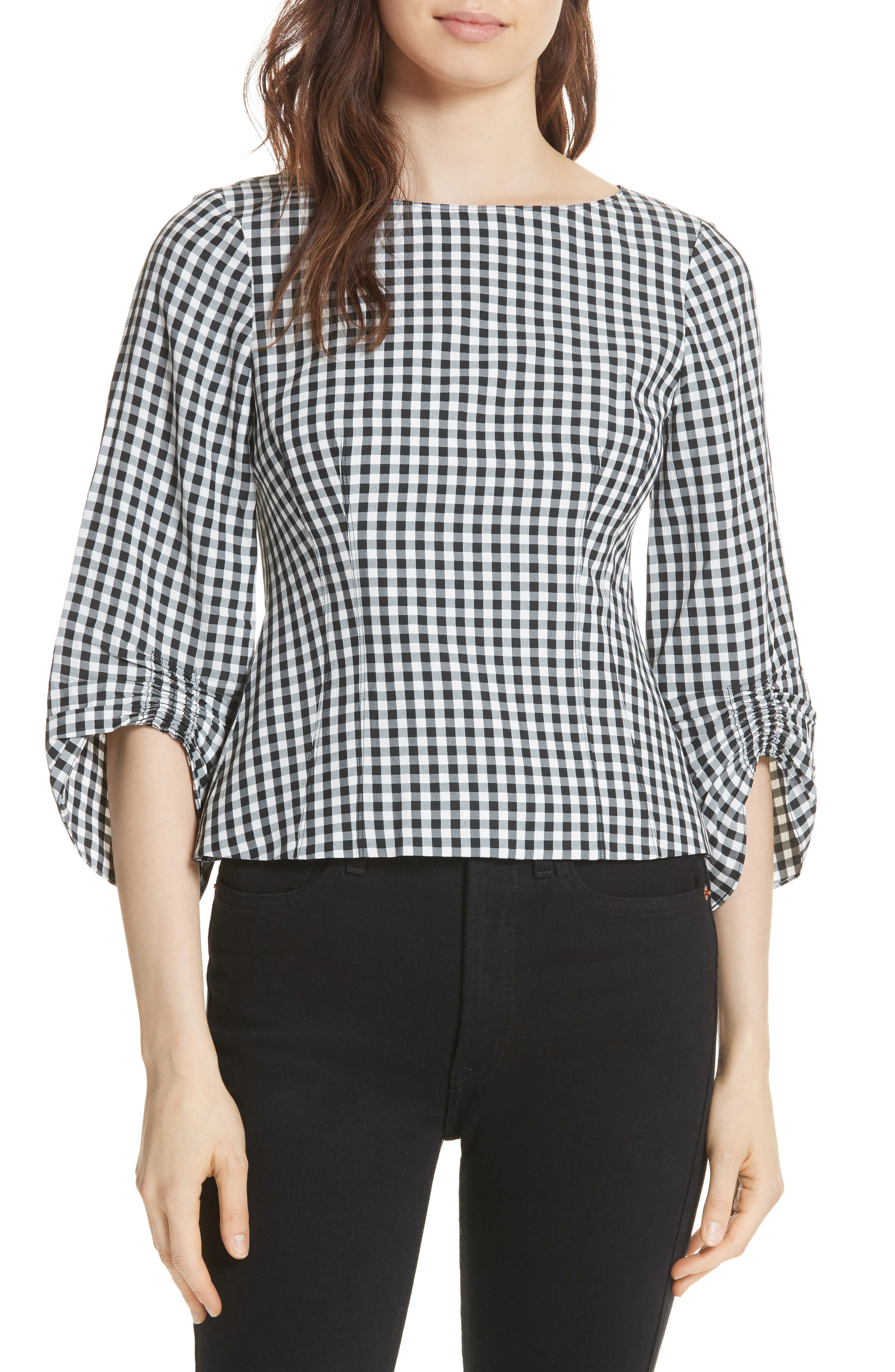 Gingham Corset Peplum Blouse,                         Main,                         color, 006