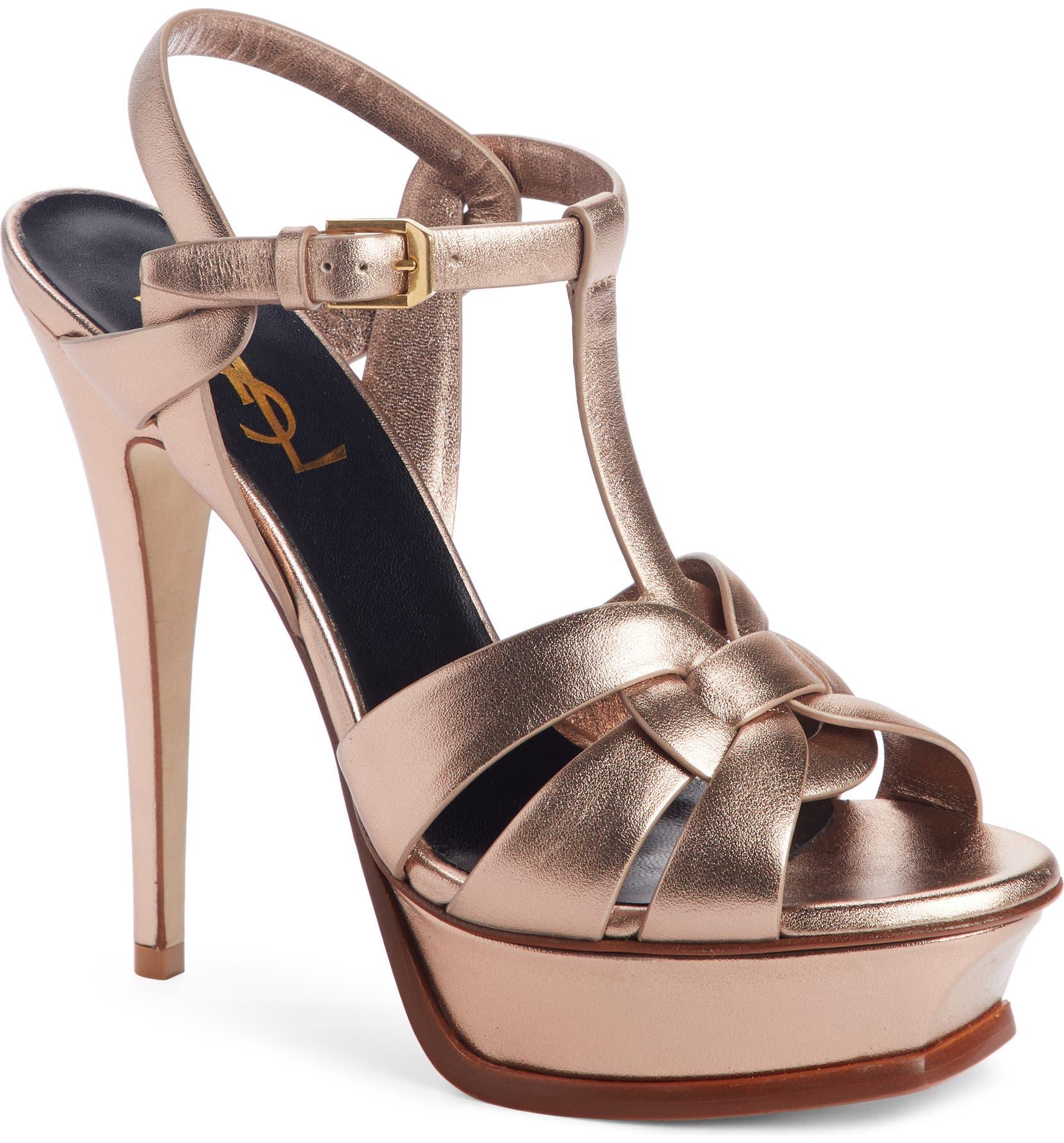 690e5f01f9f0ca Saint Laurent Tribute Metallic Platform Sandal (Women)