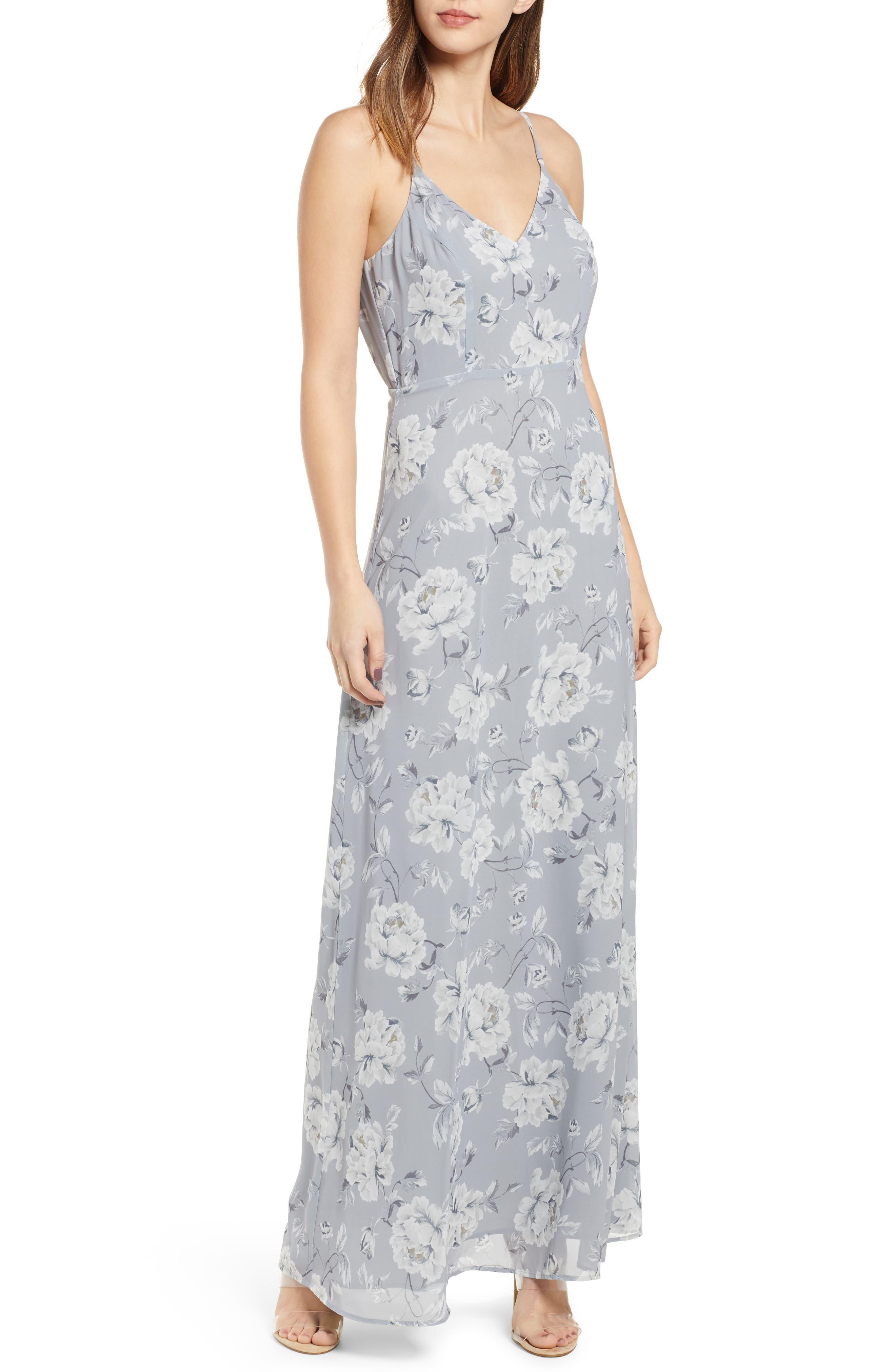Leith Feminine Floral Maxi Dress, Grey
