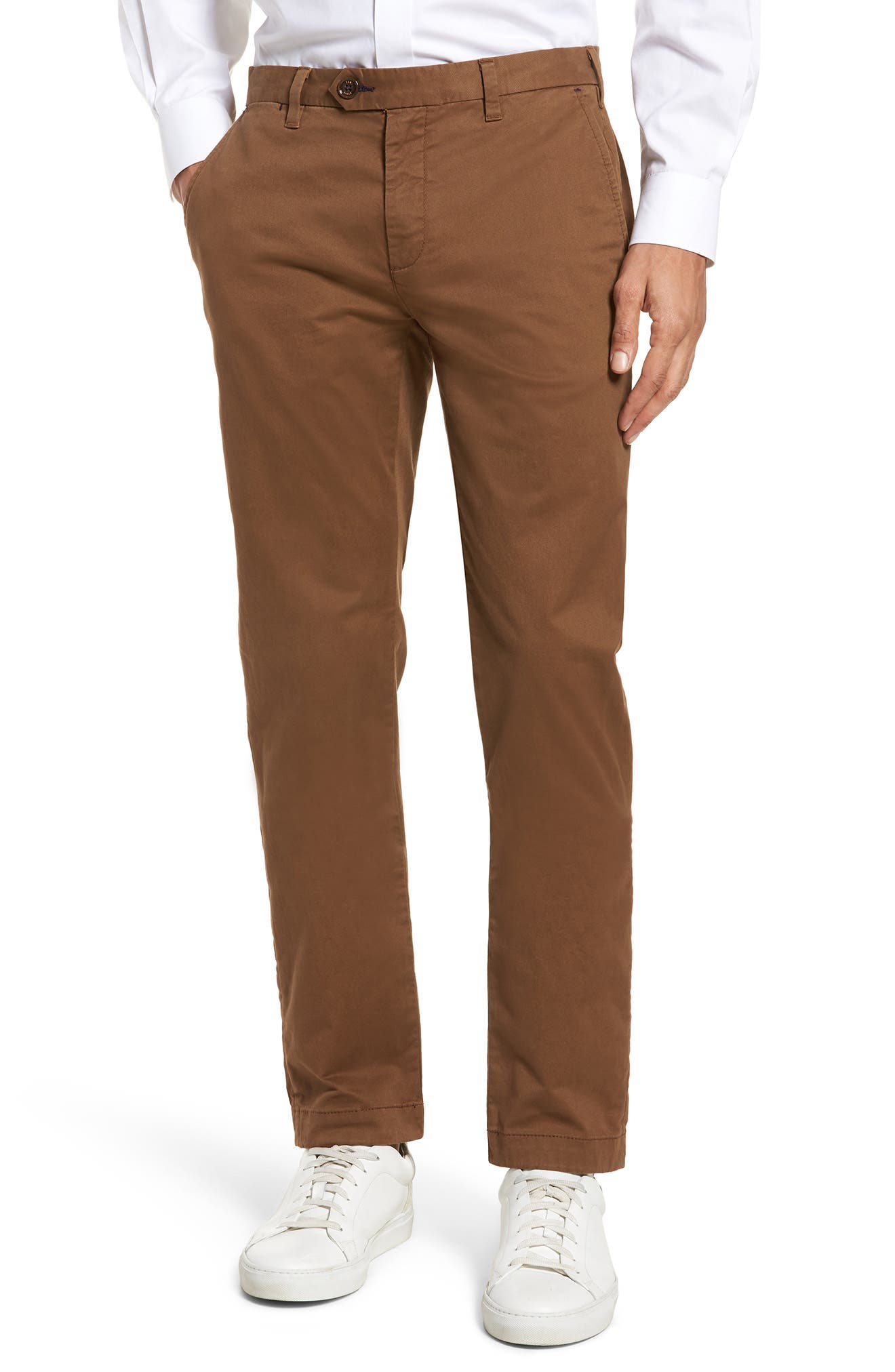Proctt Flat Front Stretch Solid Cotton Pants,                         Main,                         color, TAN