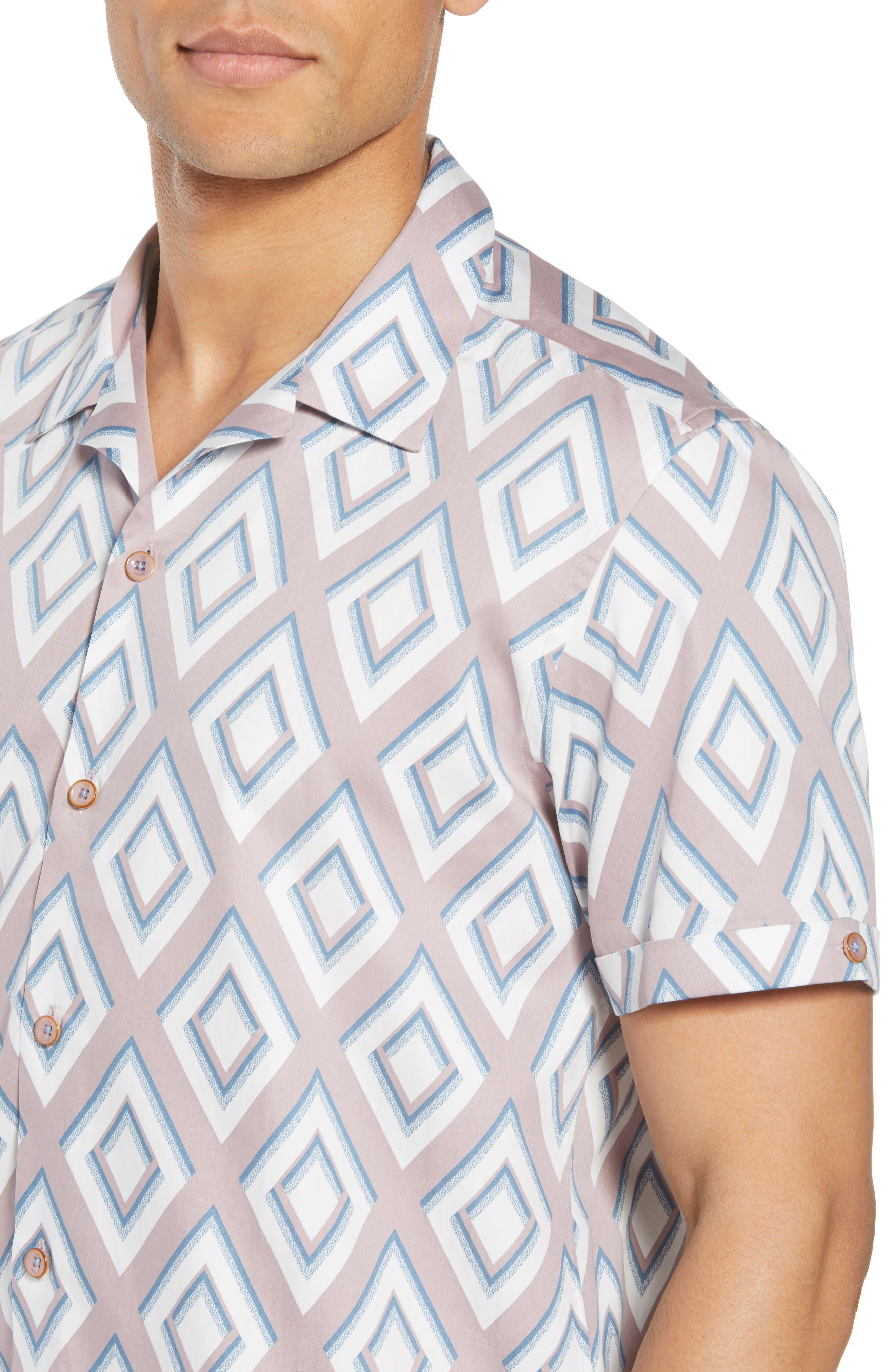 Slim Fit Diamond Print Sport Shirt,                             Alternate thumbnail 4, color,                             650