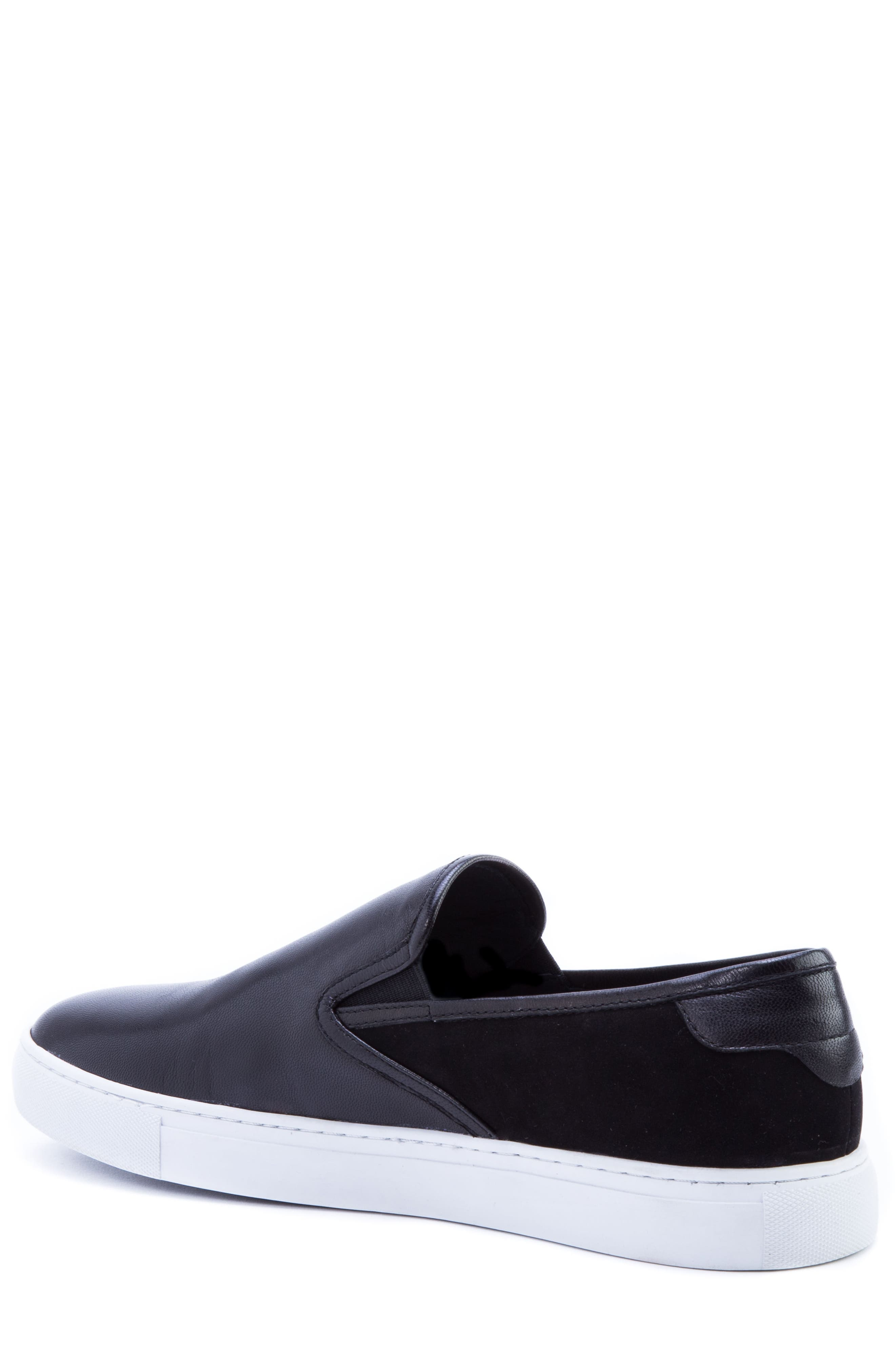 Duchamps Slip-On Sneaker,                             Alternate thumbnail 2, color,                             BLACK LEATHER/ SUEDE
