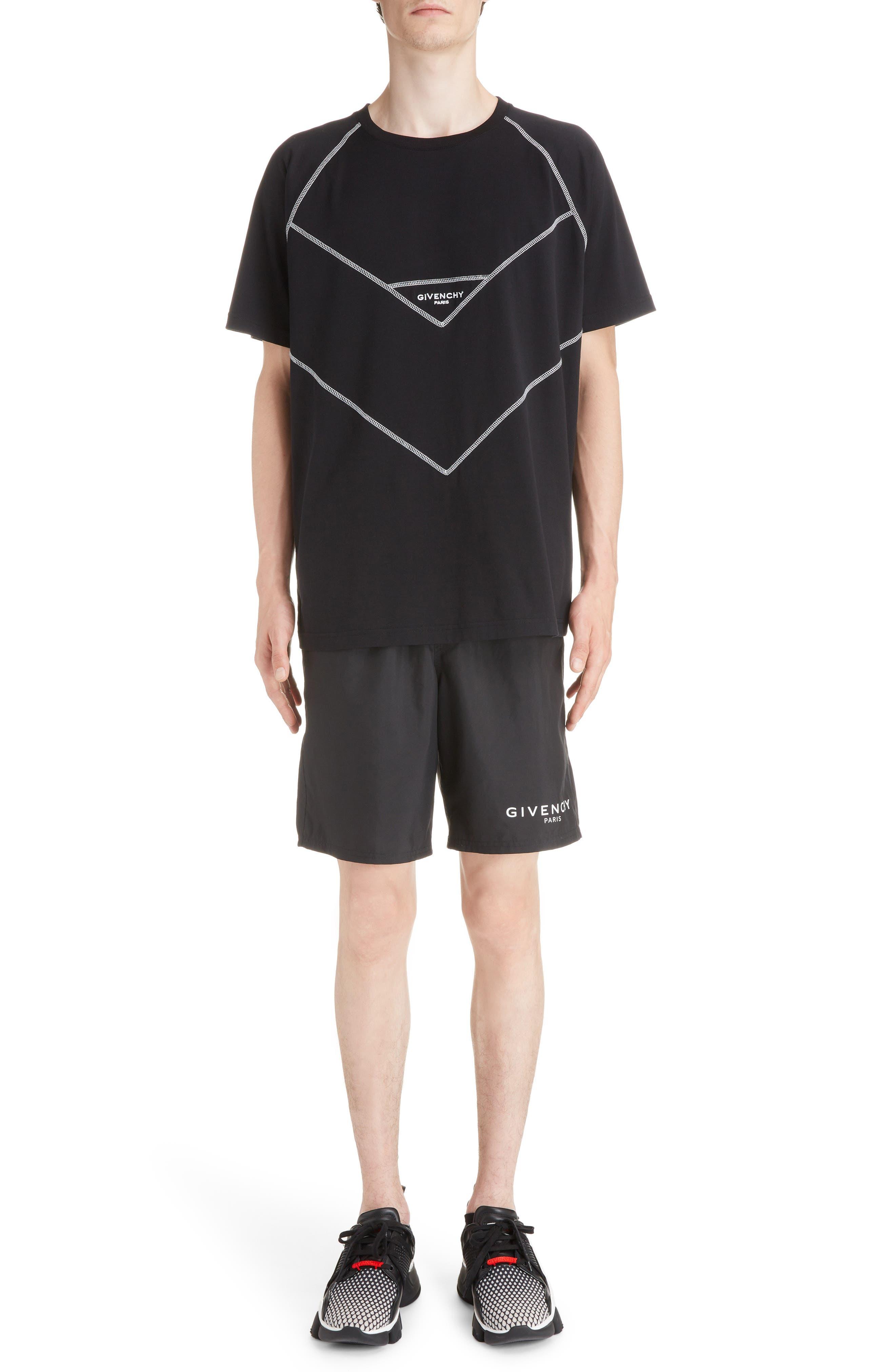 Chevron Stitch T-Shirt,                             Alternate thumbnail 6, color,                             BLACK