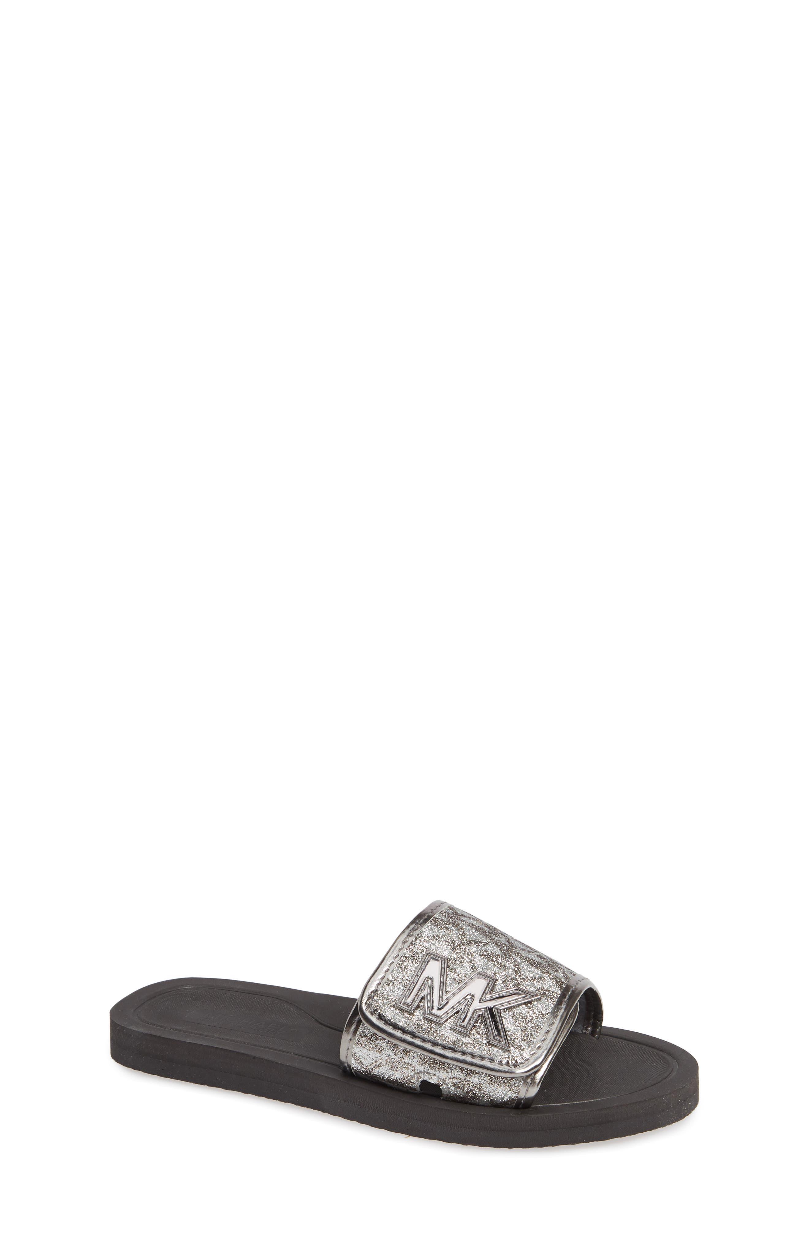MICHAEL MICHAEL KORS Eli Seneca Glitter Slide Sandal, Main, color, GUNMETAL