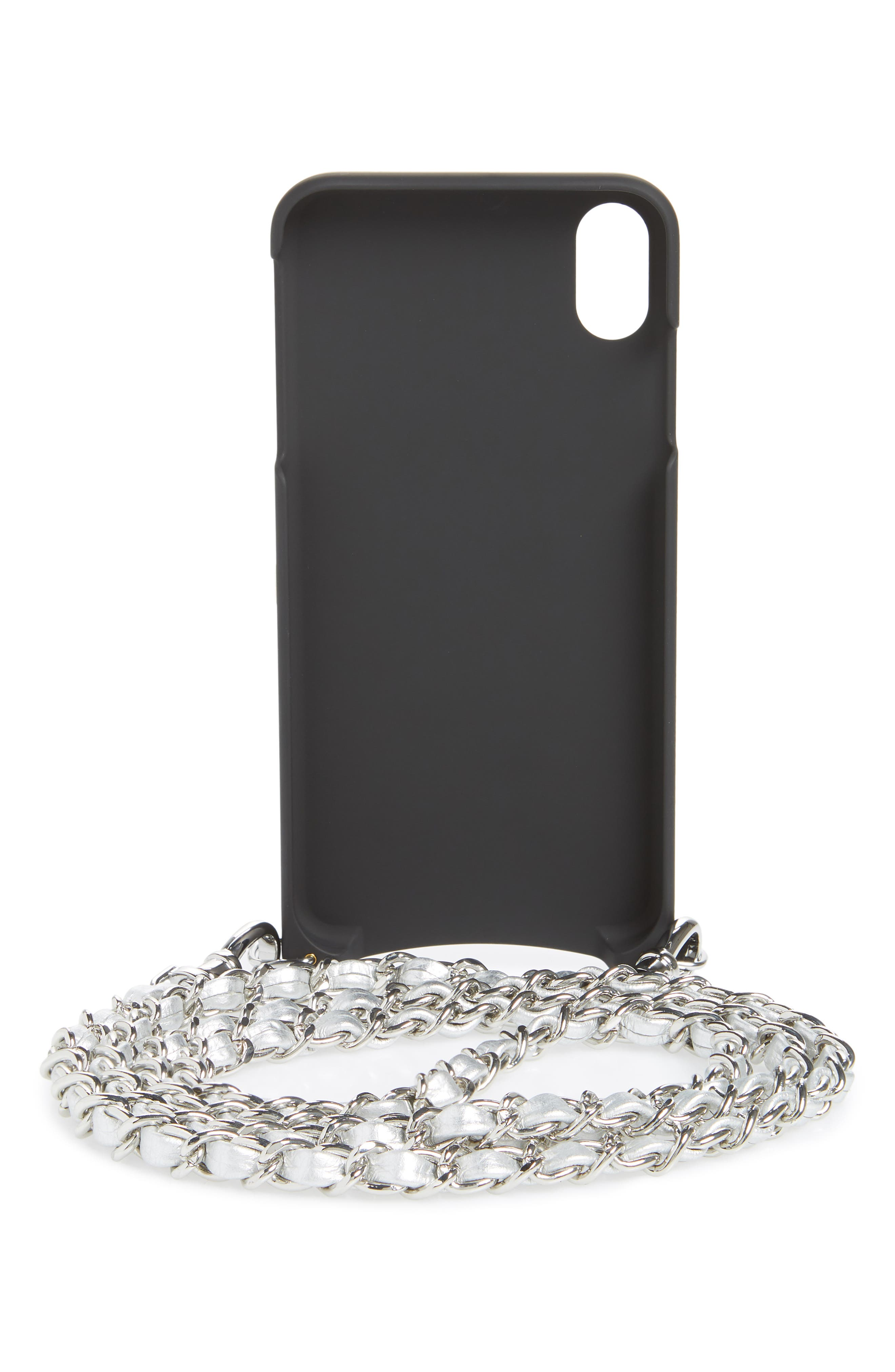 BANDOLIER,                             Sarah Leather iPhone 8/8 Plus/X/Xs/Xs Max & XR Crossbody Case,                             Alternate thumbnail 3, color,                             SILVER/ SILVER
