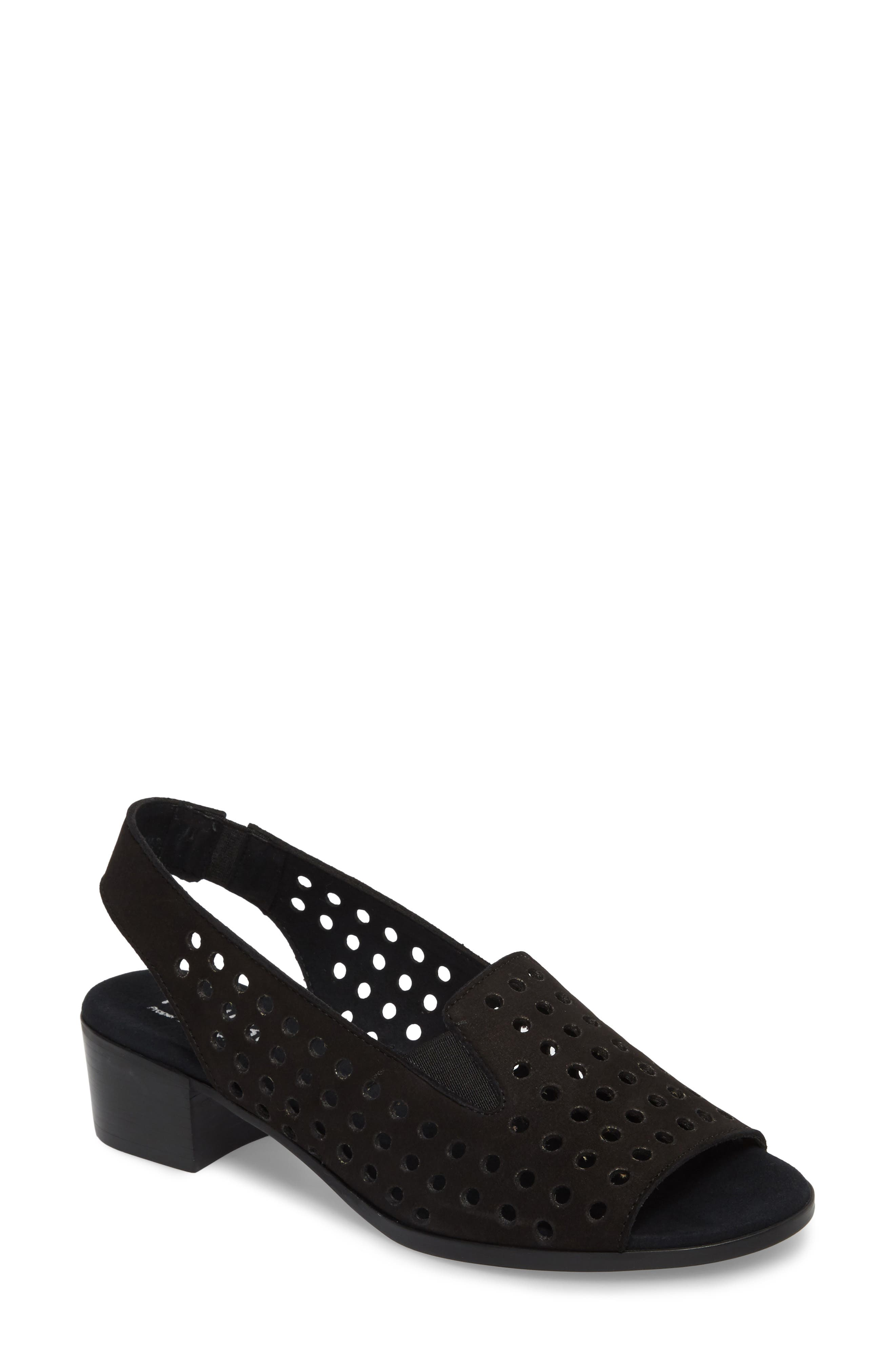 Mickee Slingback Sandal,                         Main,                         color, BLACK NUBUCK LEATHER