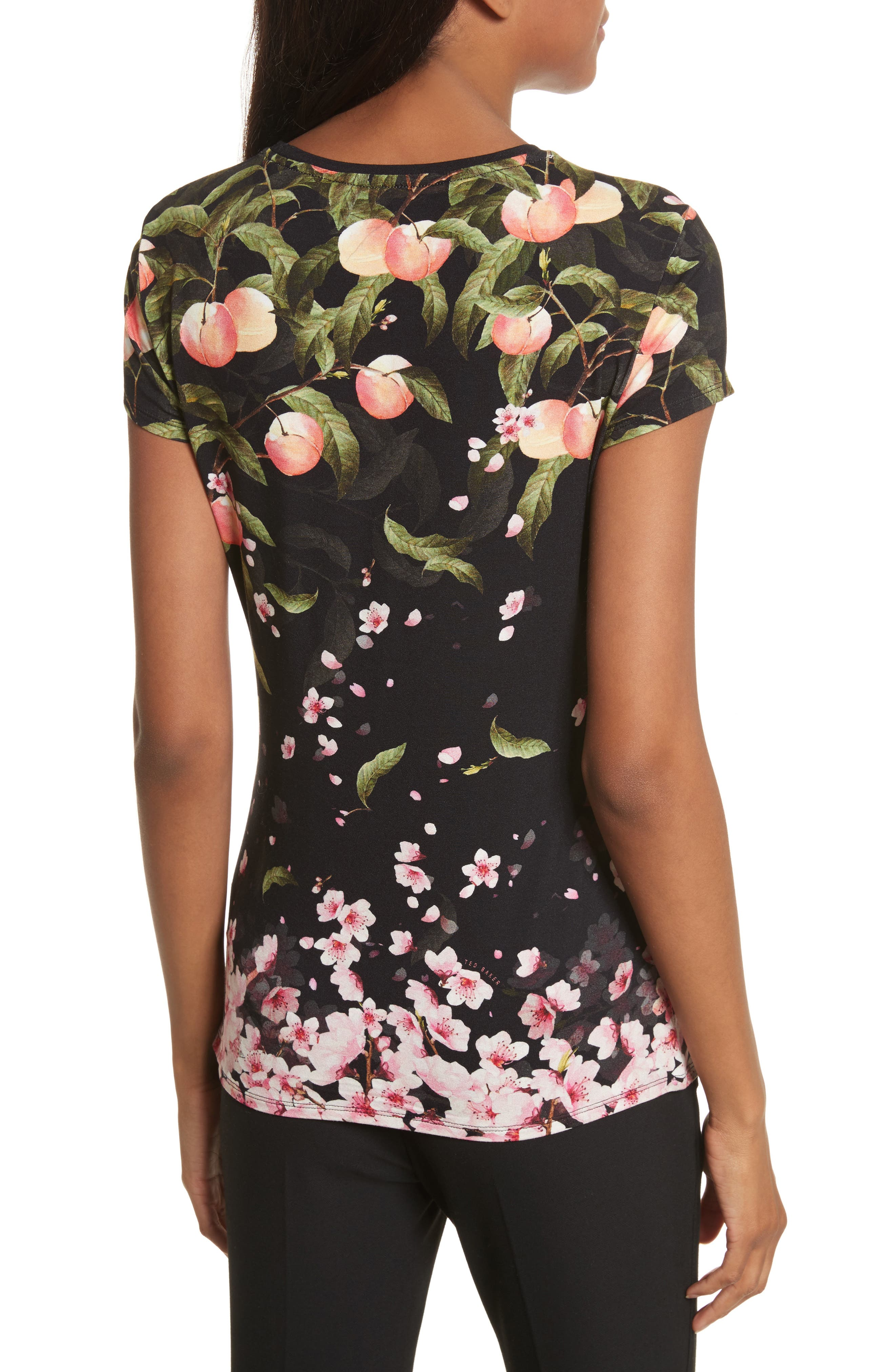 Peach Blossom Fitted Tee,                             Alternate thumbnail 2, color,                             001