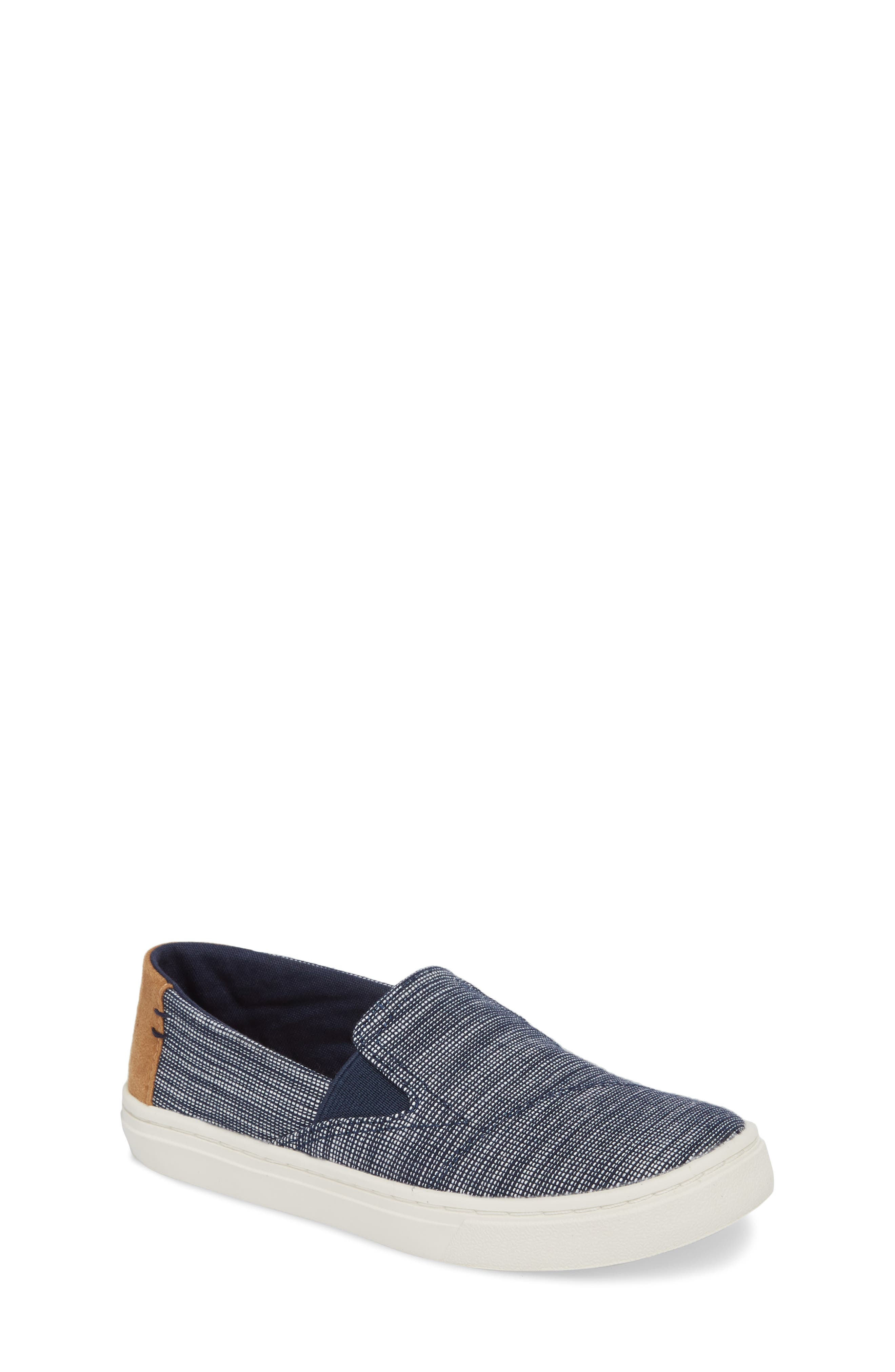 Luca Basket Weave Slip-On,                             Main thumbnail 1, color,                             NAVY STRIPED CHAMBRAY