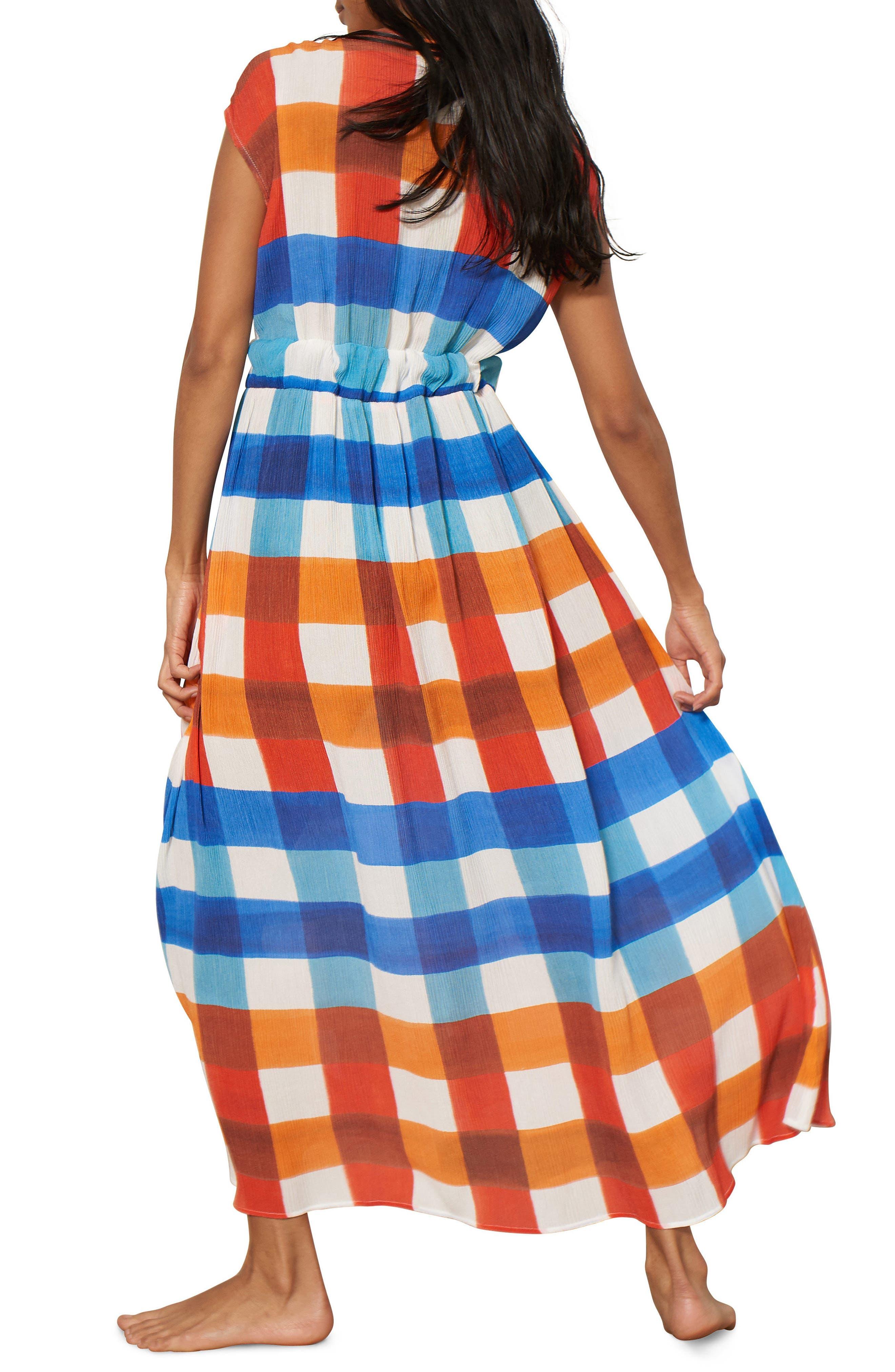 Katinka Check Cover-Up Maxi Dress,                             Alternate thumbnail 2, color,                             RED/ BLUE MULTI