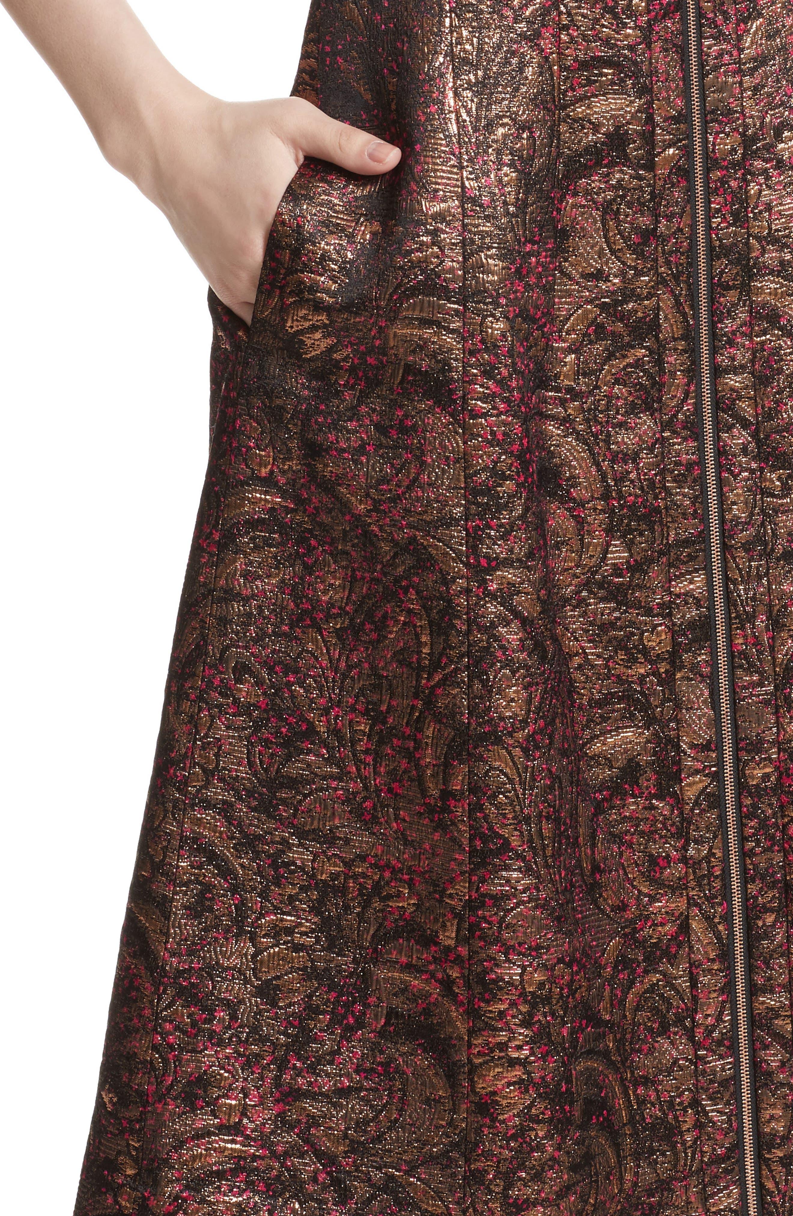 Celinda Metallic Jacquard Dress,                             Alternate thumbnail 4, color,