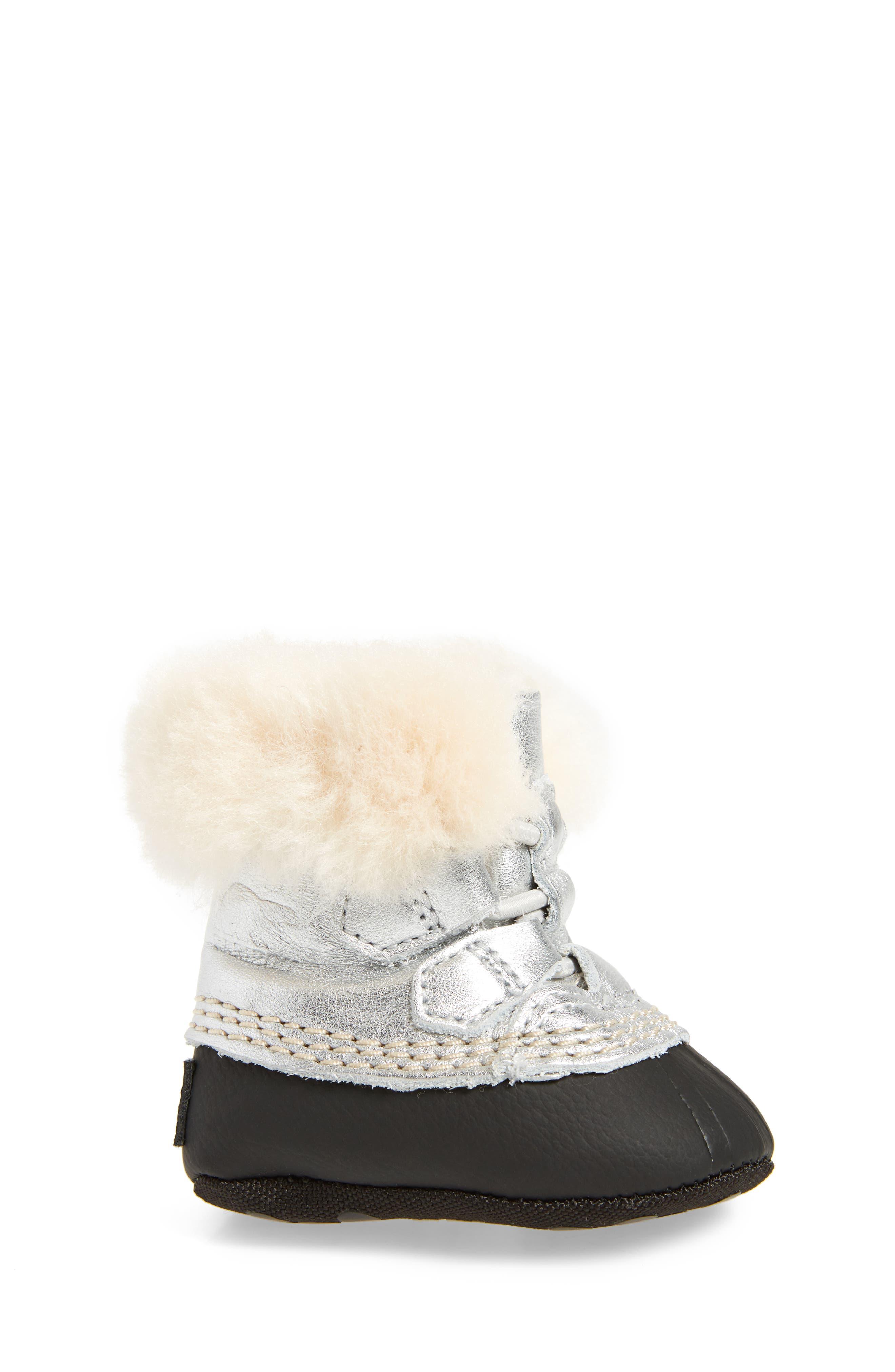 Caribootie Genuine Shearling Crib Shoe,                             Alternate thumbnail 14, color,
