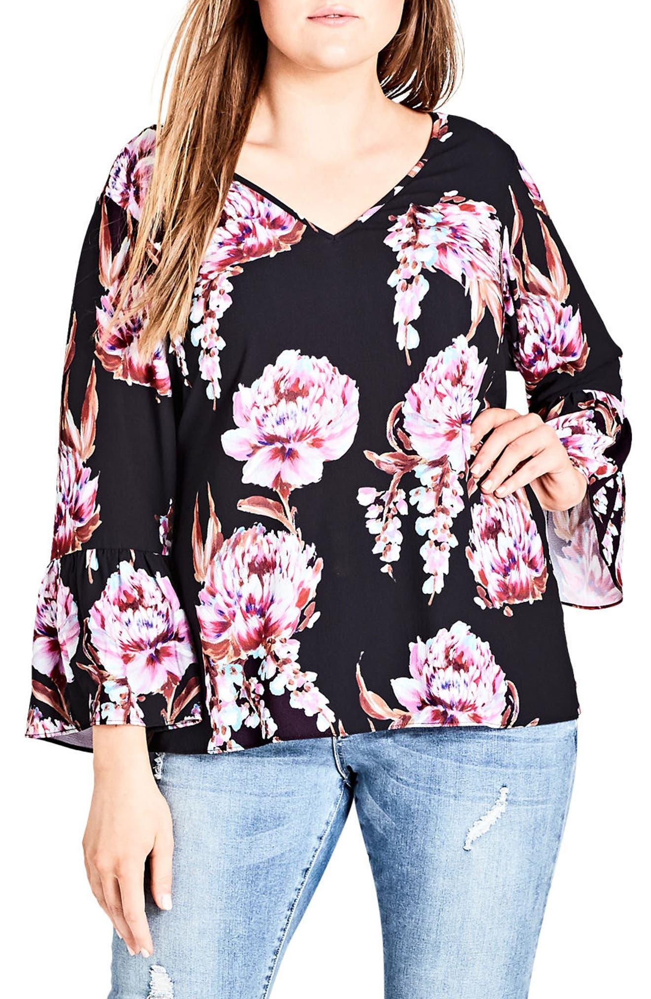 Floral Cascade V-Back Top,                             Main thumbnail 1, color,                             FLORAL CASCADE