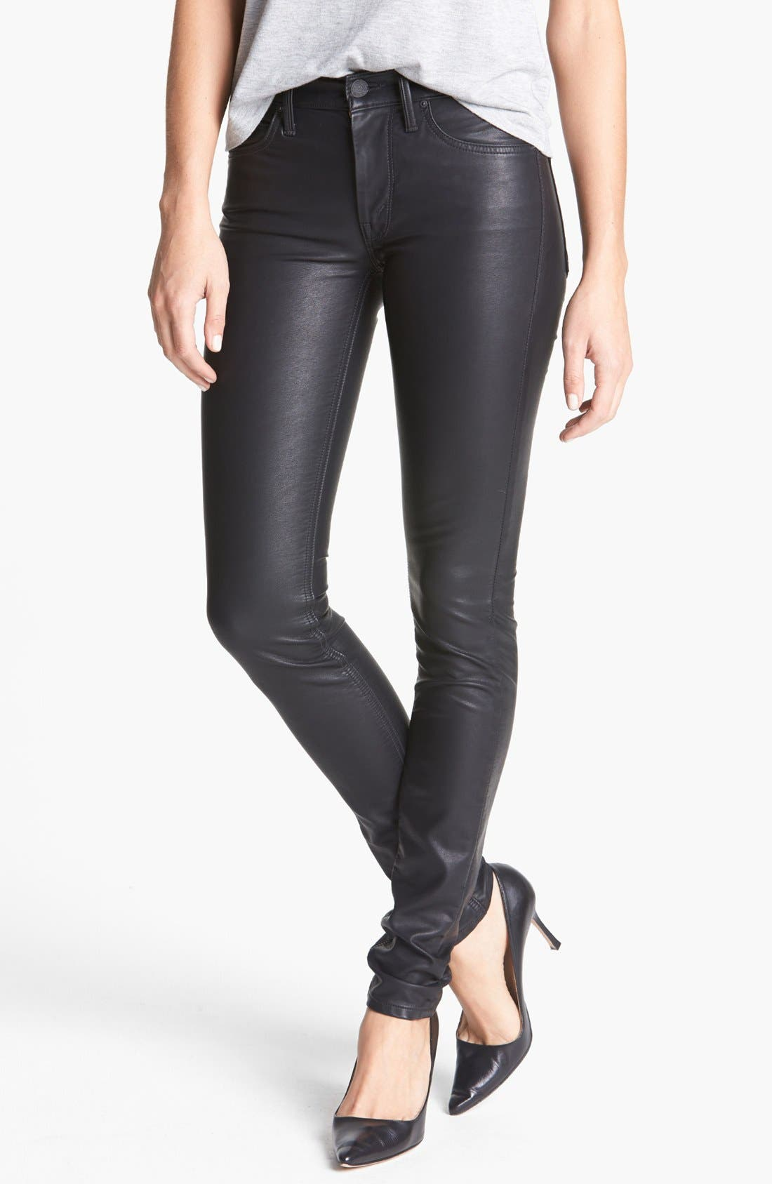 MOTHER 'The Muse' Faux Leather Pants, Main, color, 008