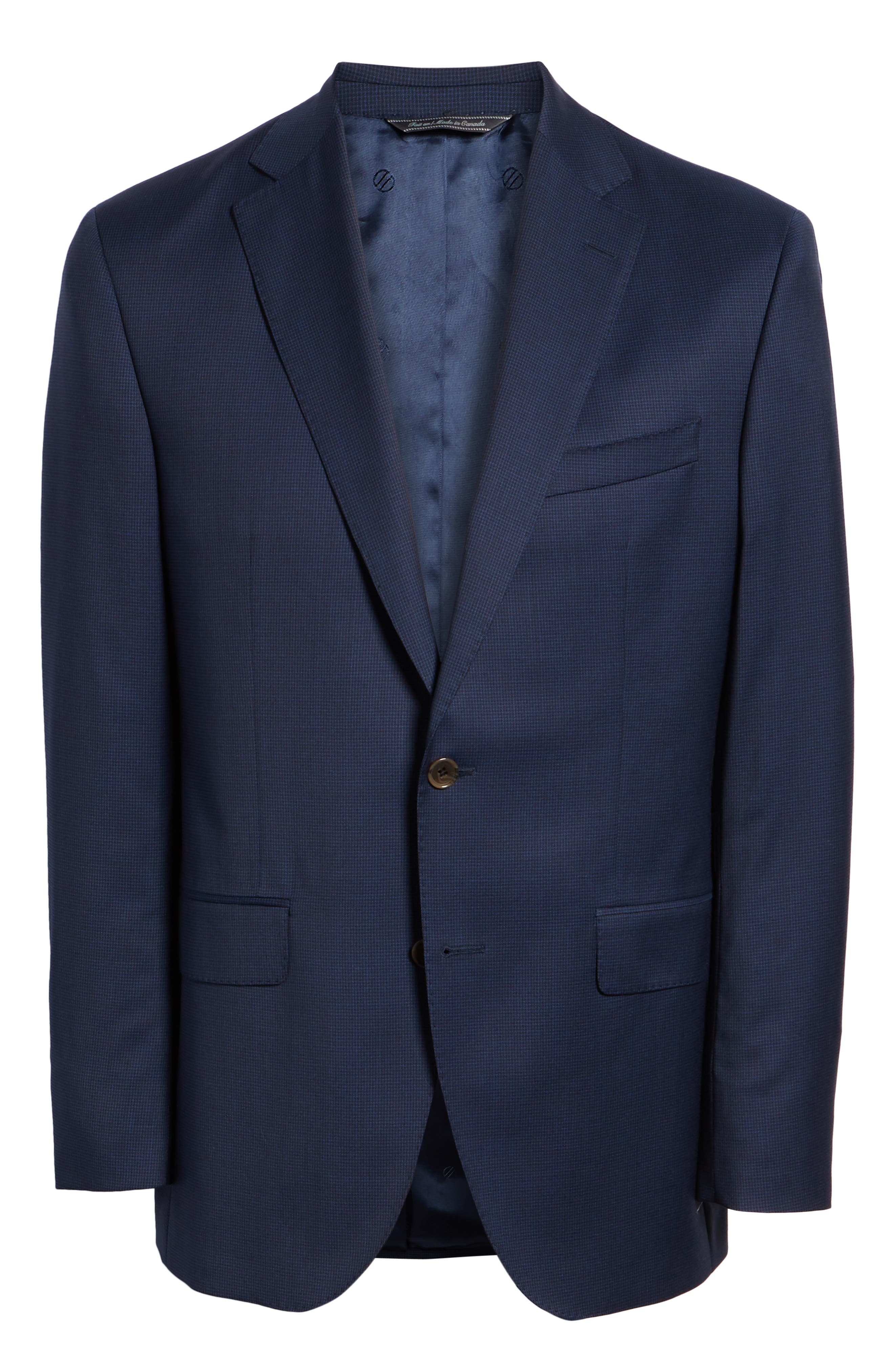 Ryan Classic Fit Houndstooth Wool Suit,                             Alternate thumbnail 8, color,                             BLUE