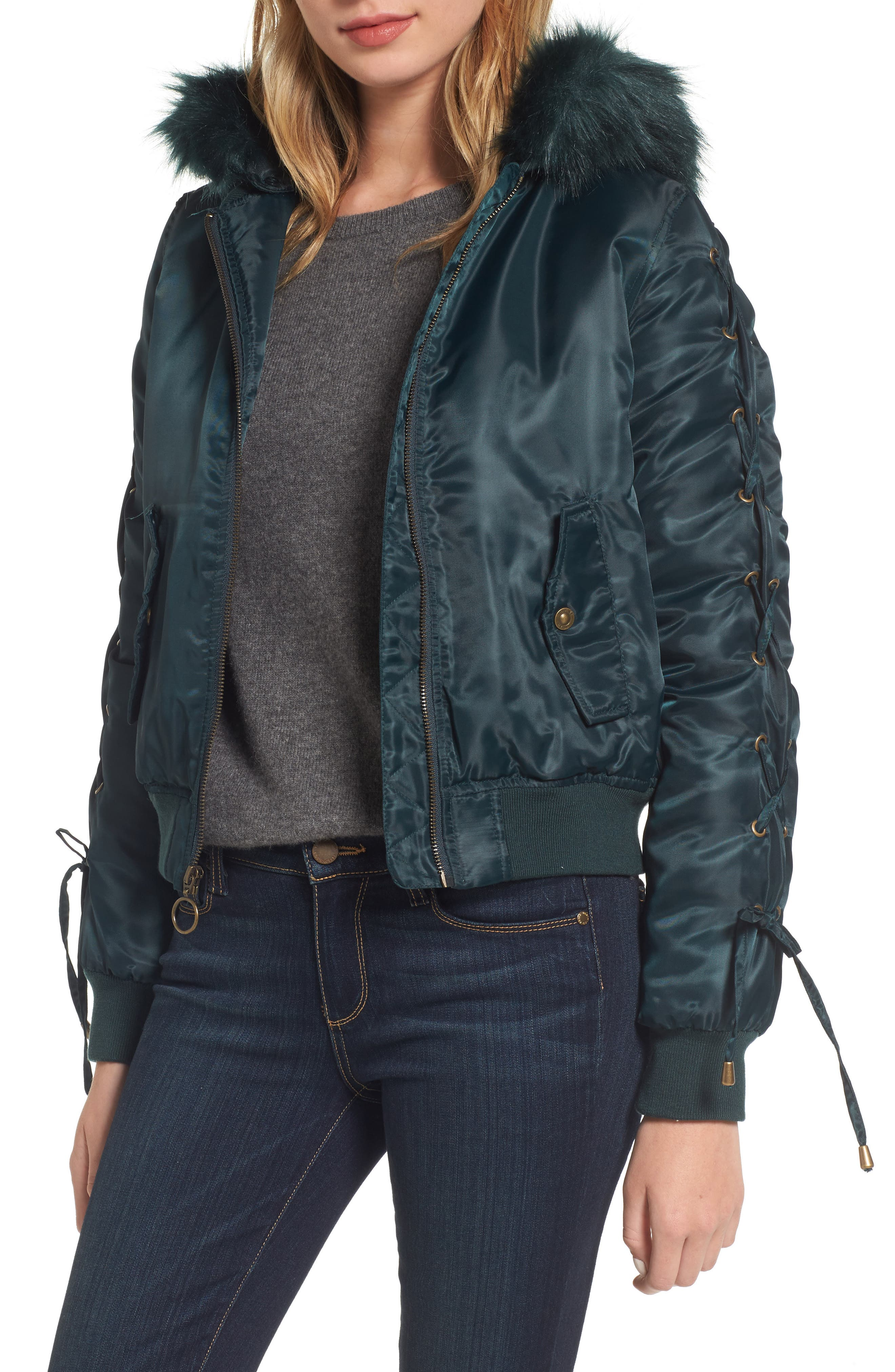 Lace-Up Sleeve Quilted Bomber Jacket,                         Main,                         color, 446