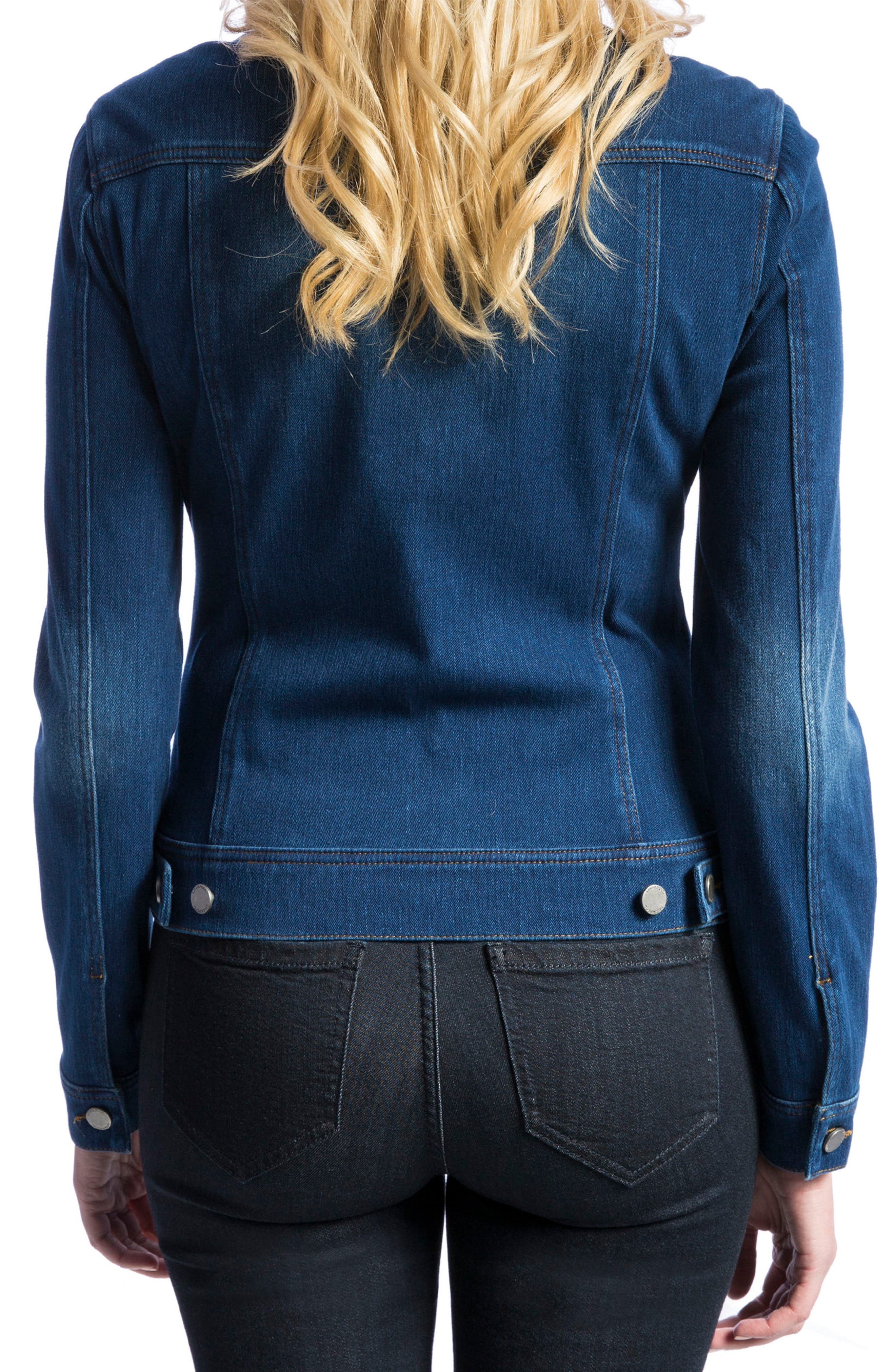 Knit Denim Jacket,                             Alternate thumbnail 4, color,                             ADMIRAL BLUE