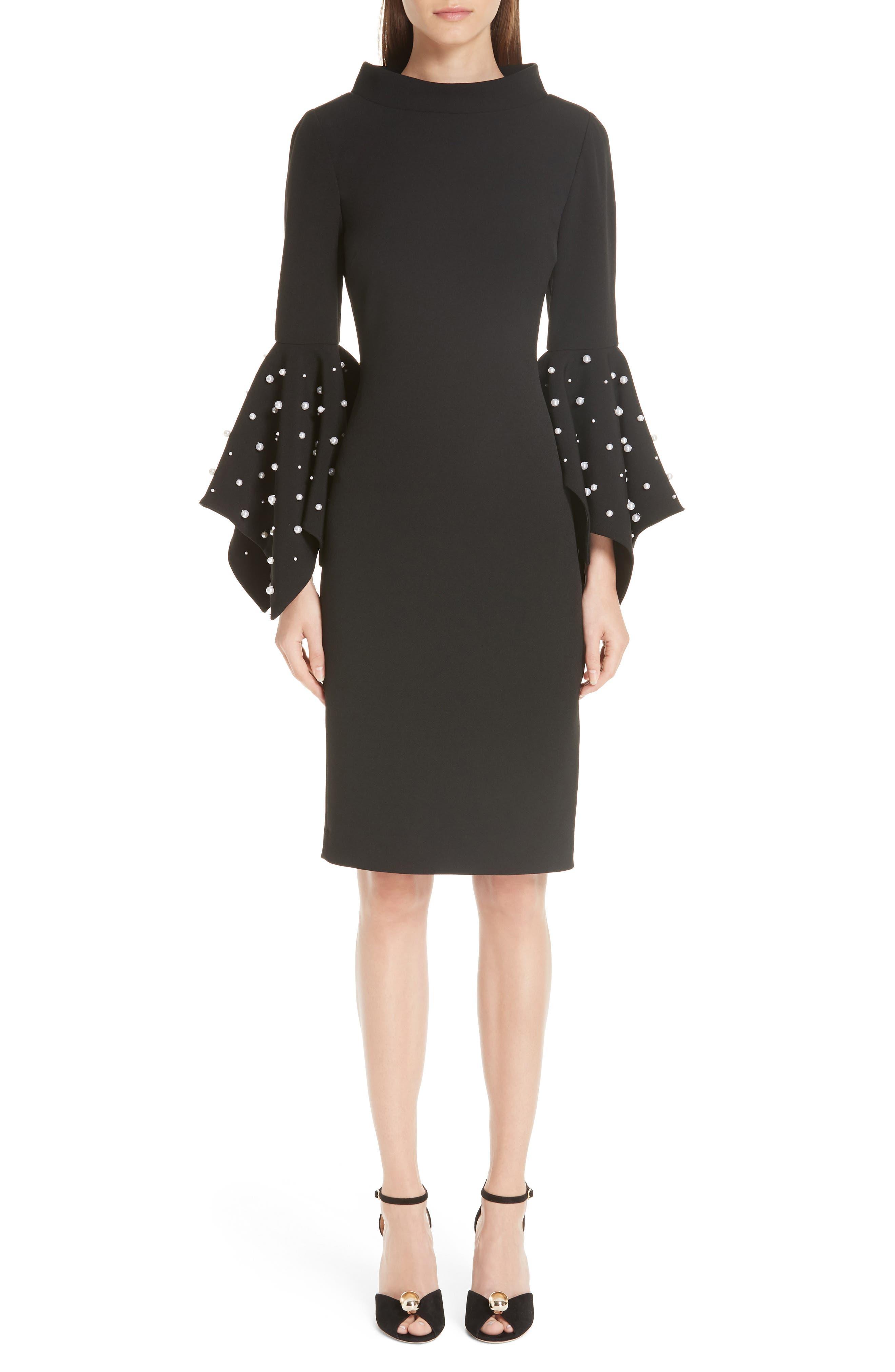 BADGLEY & MISCHKA Collection Beaded Flare Cuff Sheath Dress in Black