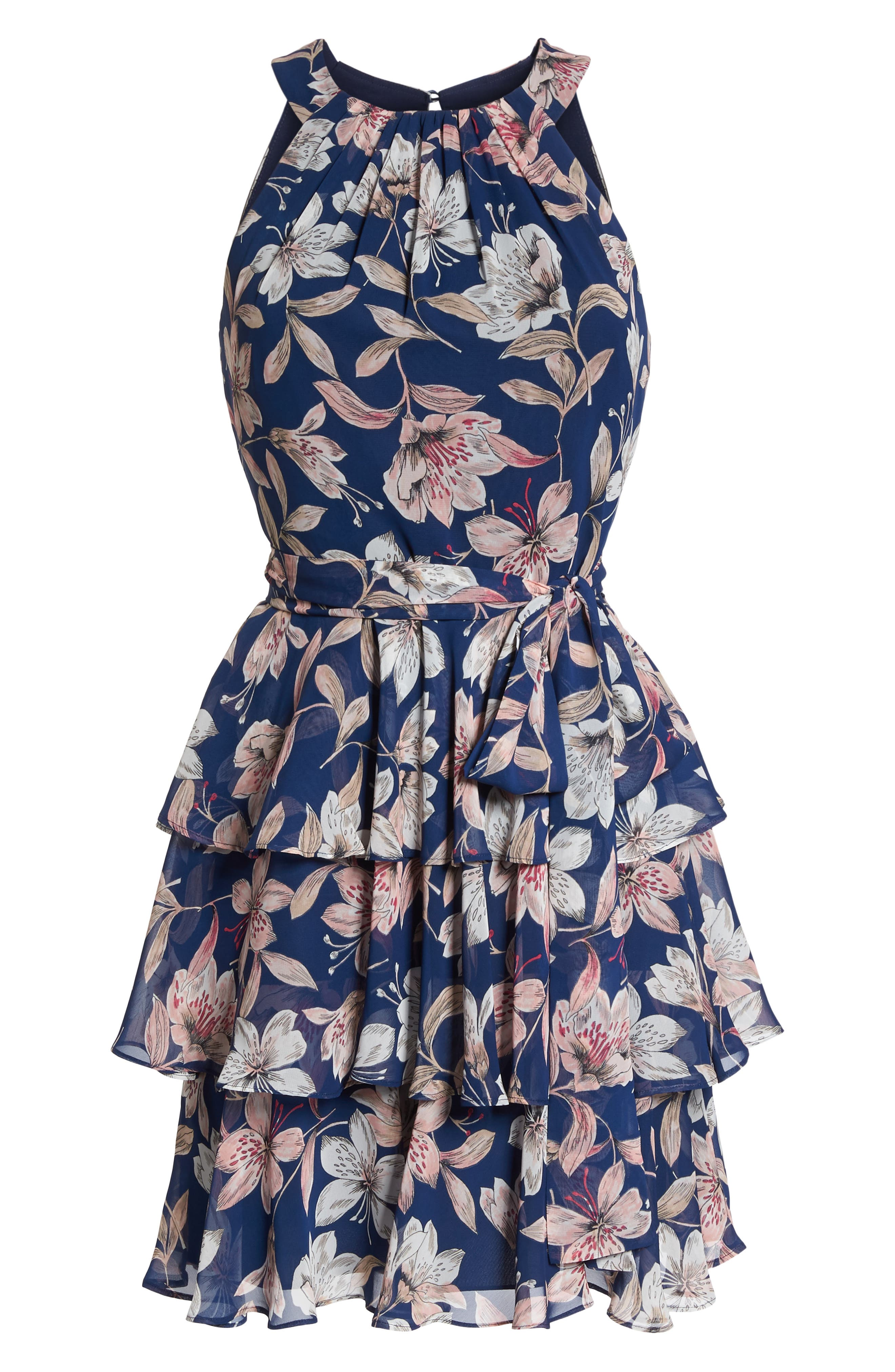 Tiered Chiffon Dress,                             Alternate thumbnail 7, color,                             410