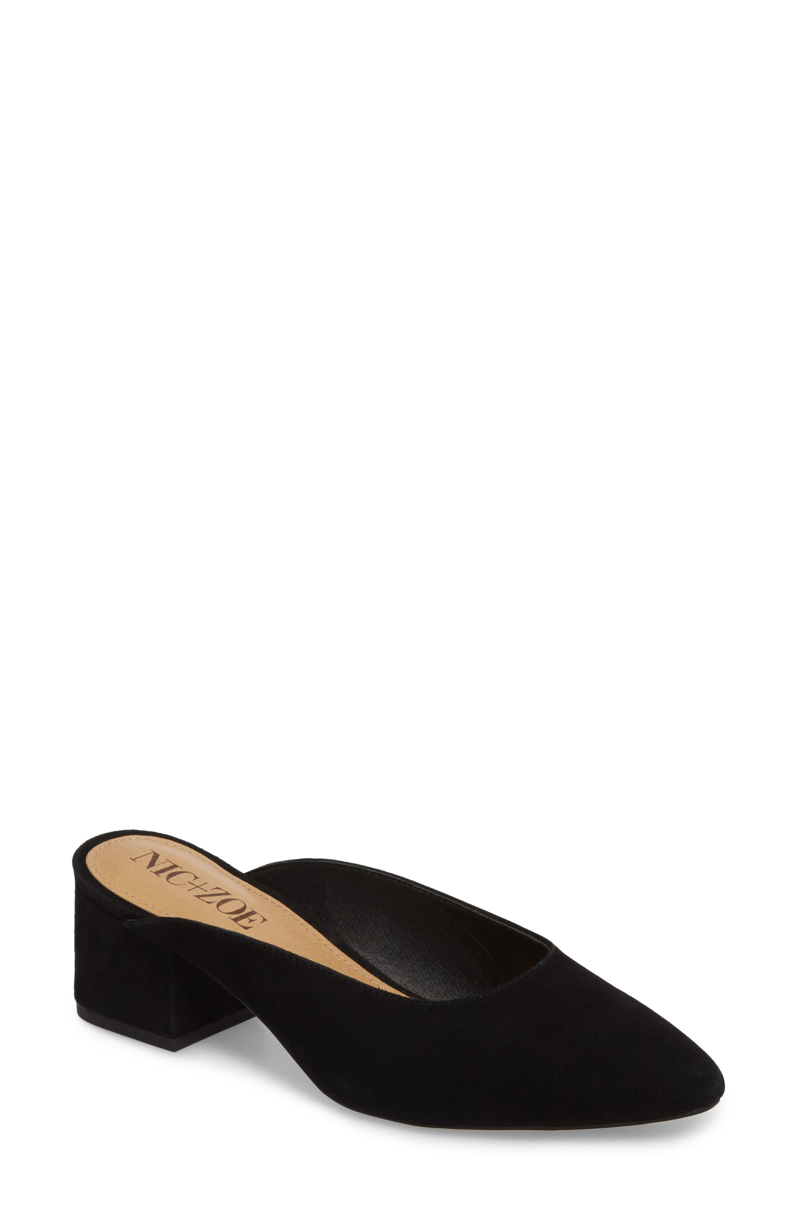 Jayla Mule,                             Main thumbnail 1, color,                             BLACK SUEDE