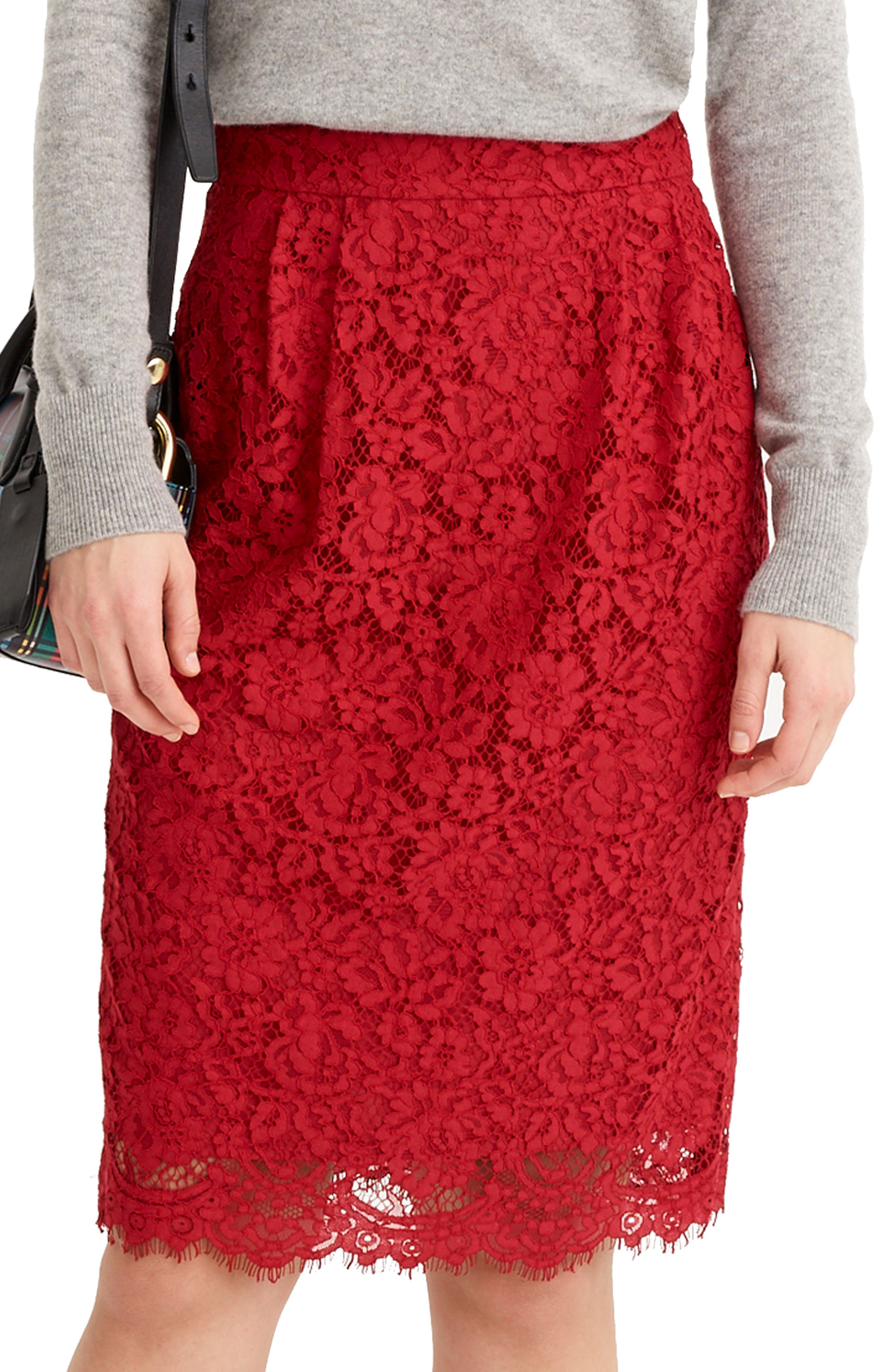 J.crew Lace Pintuck Pencil Skirt, Red