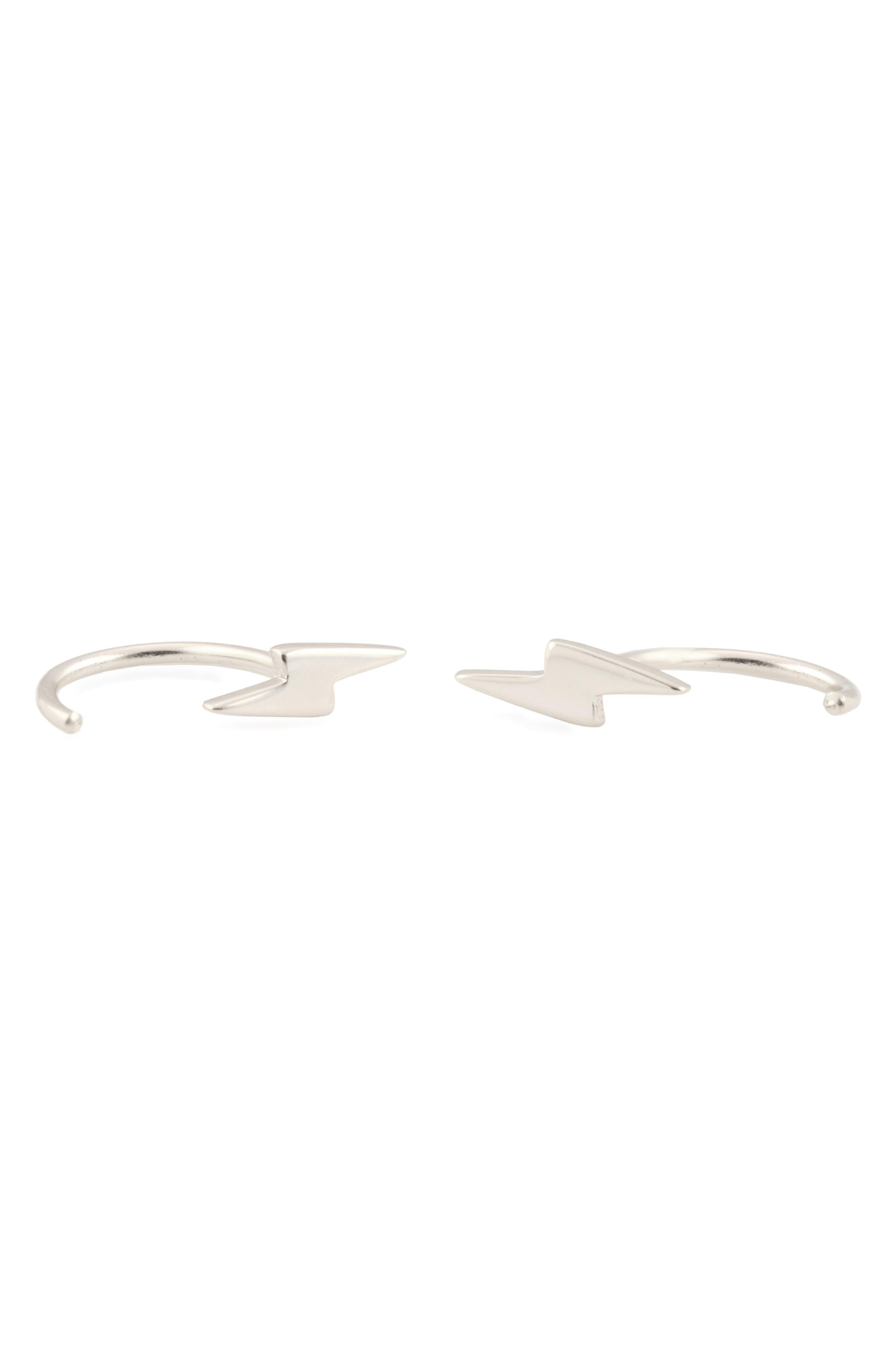 Tiny Lightning Stud Hoop Earrings,                             Main thumbnail 1, color,                             SILVER
