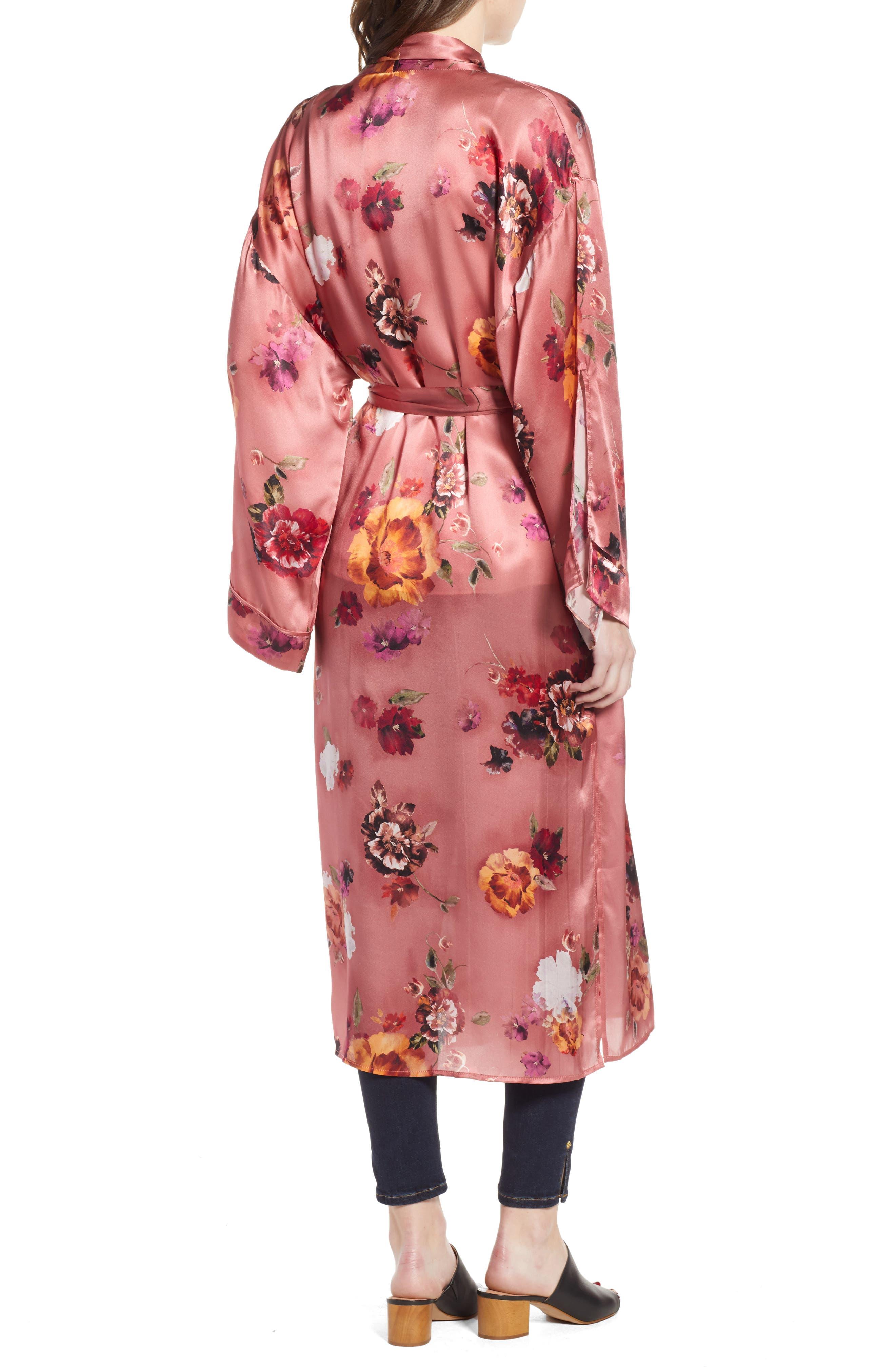Print Long Silk Kimono,                             Alternate thumbnail 2, color,                             PINK AUTUMN BOUQUET