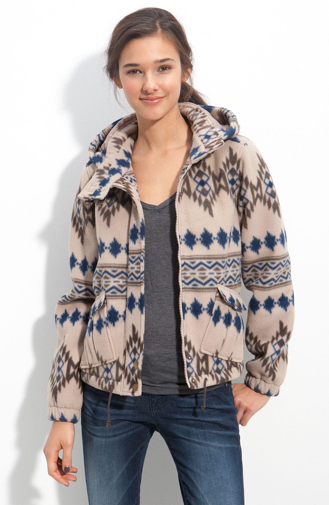 Jack 'Bordeaux' Southwestern Printed Fleece Jacket,                             Main thumbnail 1, color,                             250