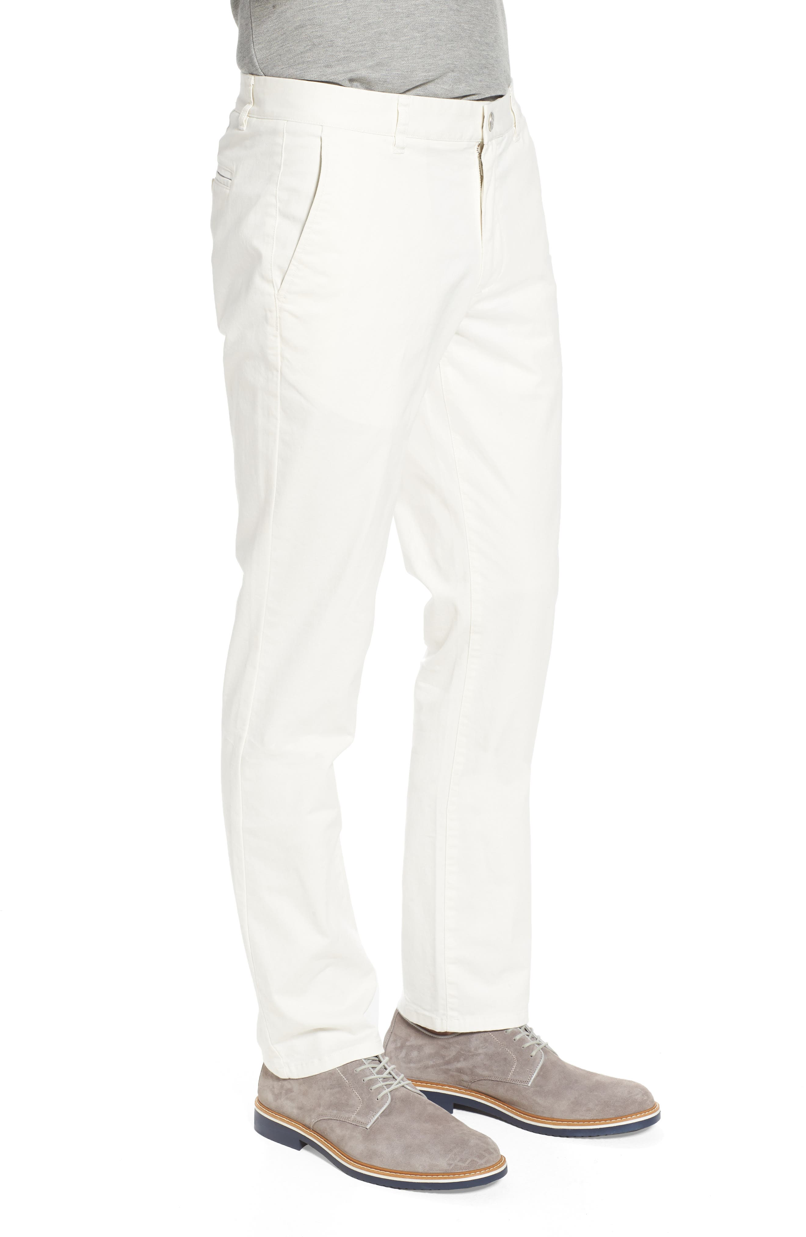 Tailored Fit Washed Stretch Cotton Chinos,                             Alternate thumbnail 3, color,                             100