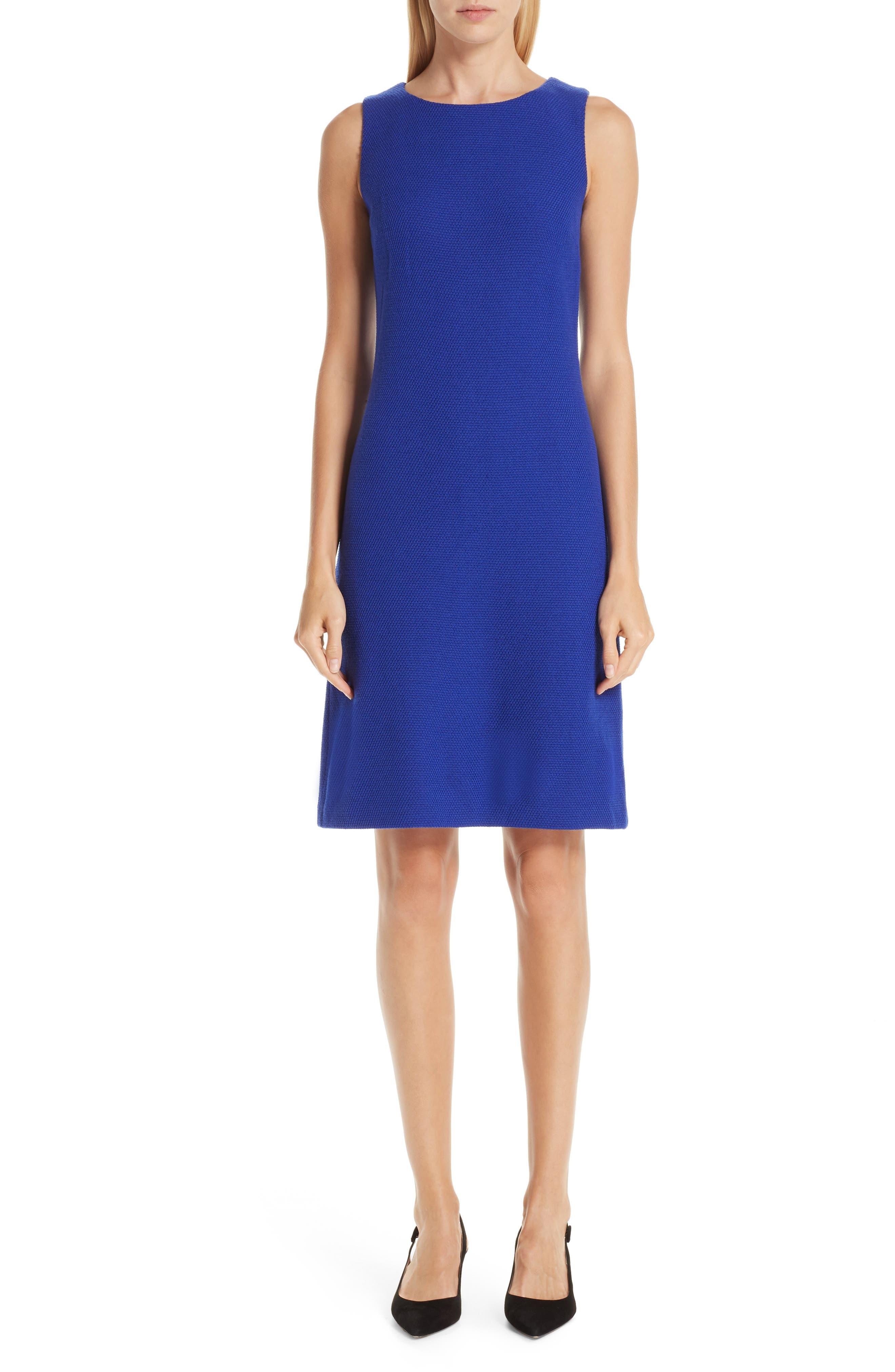 St. John Collection Irina Boucle Knit Sheath Dress, Blue
