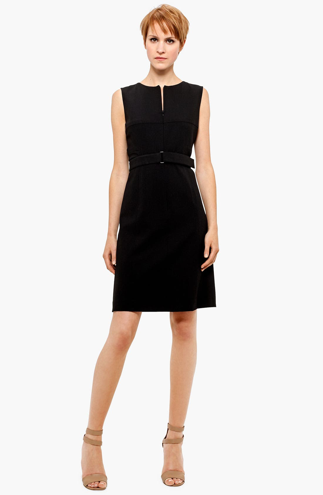 Belted Zip Front Wool Dress,                             Main thumbnail 1, color,                             BLACK