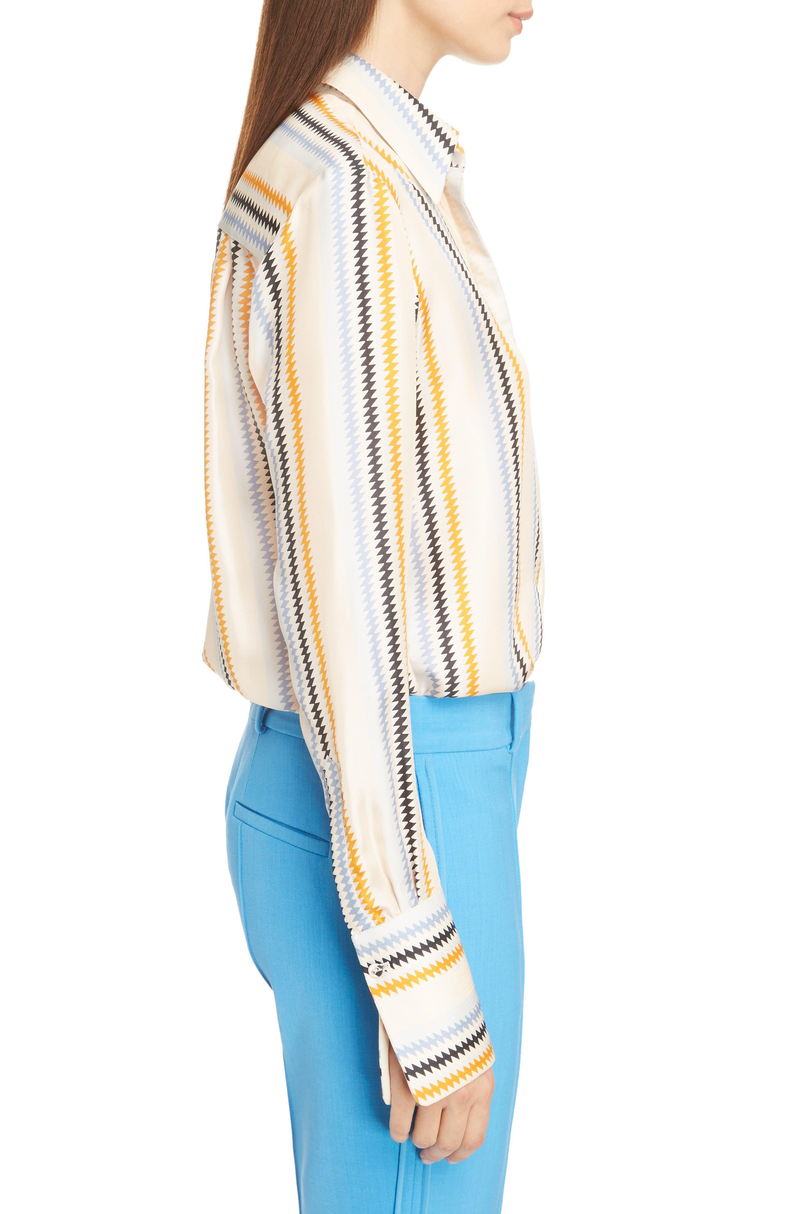 Fluid Stripe Silk Shirt,                             Alternate thumbnail 3, color,                             700