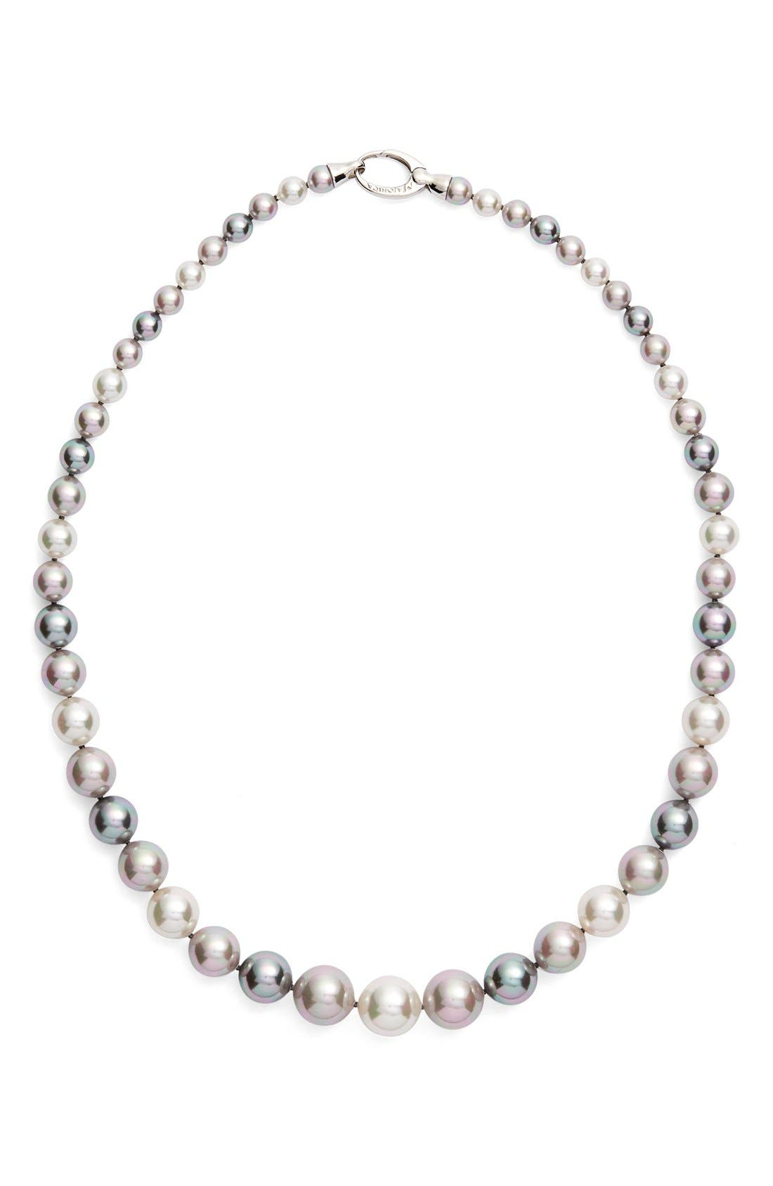 Graduated Round Simulated Pearl Necklace,                         Main,                         color, 020