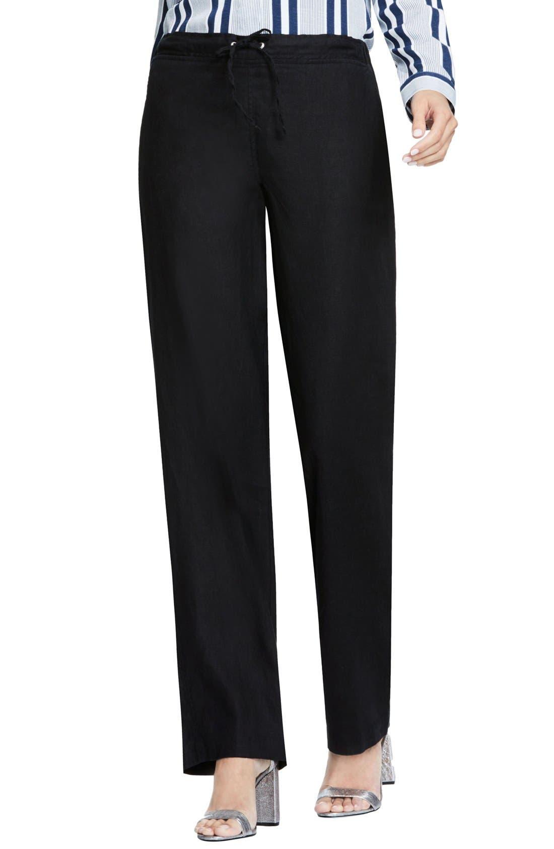 Wide Leg Linen Pants,                         Main,                         color, RICH BLACK
