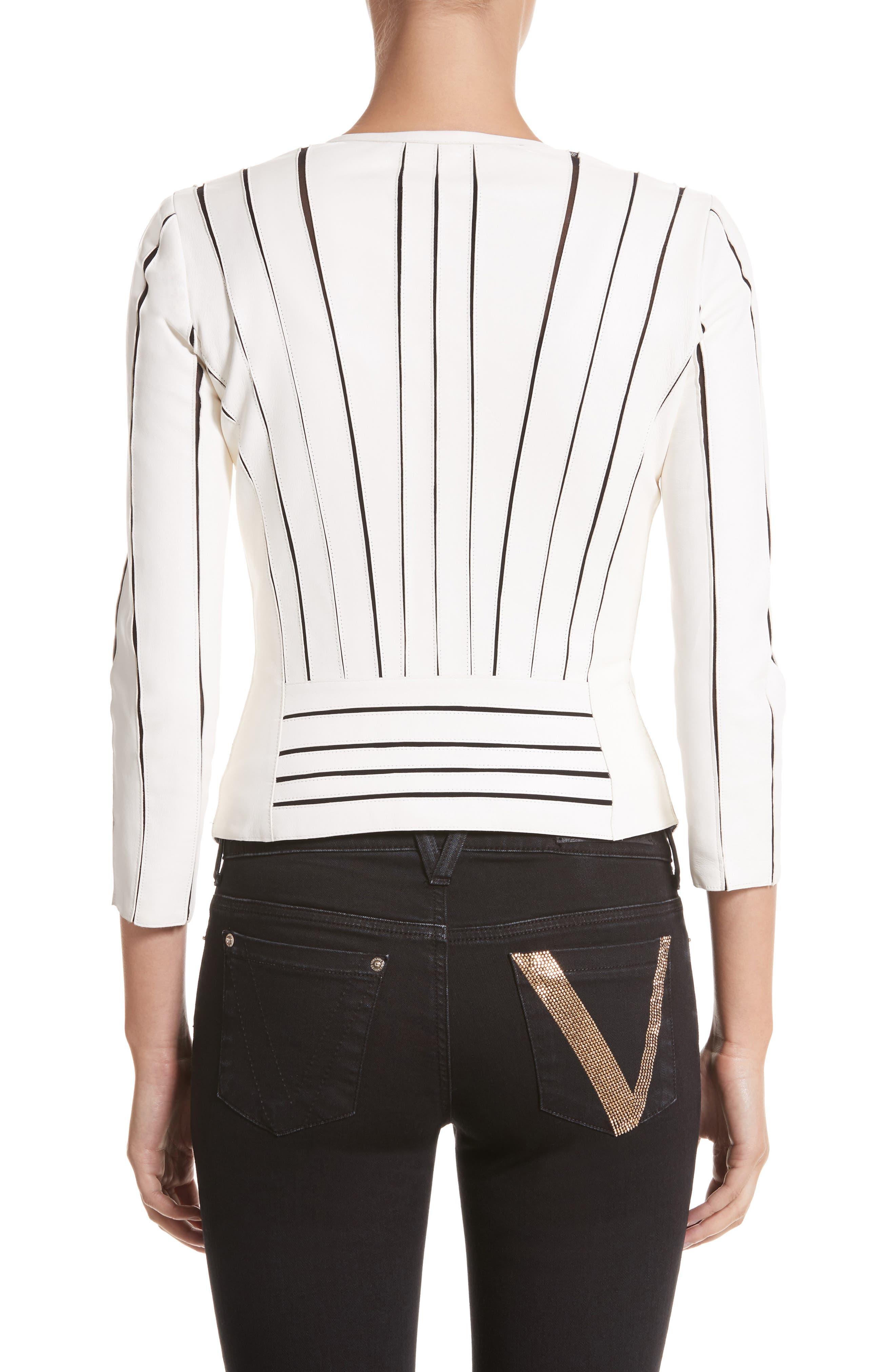 Leather Panel Jacket,                             Alternate thumbnail 2, color,                             WHITE